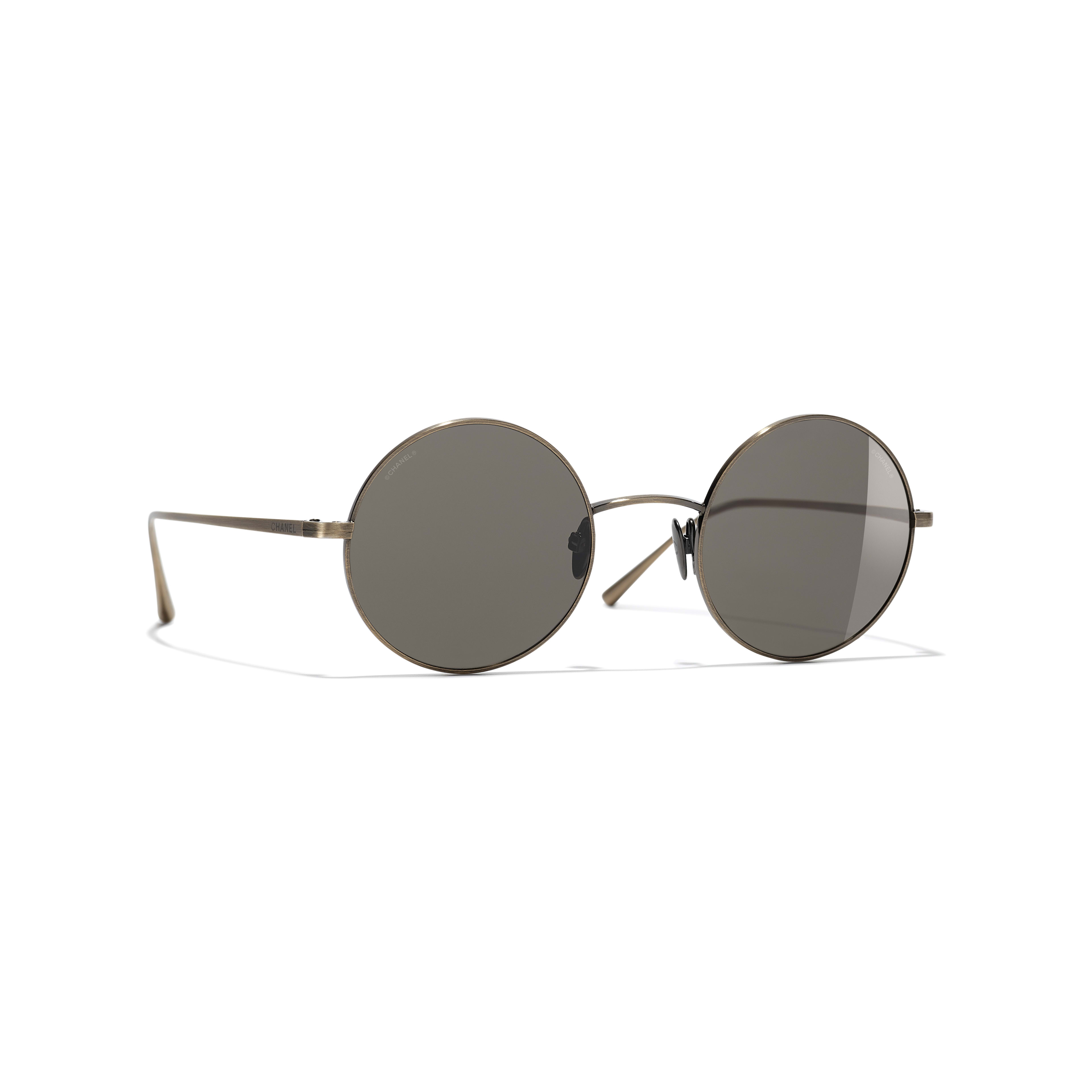 Round Sunglasses - Gold - Titanium - CHANEL - Default view - see standard sized version