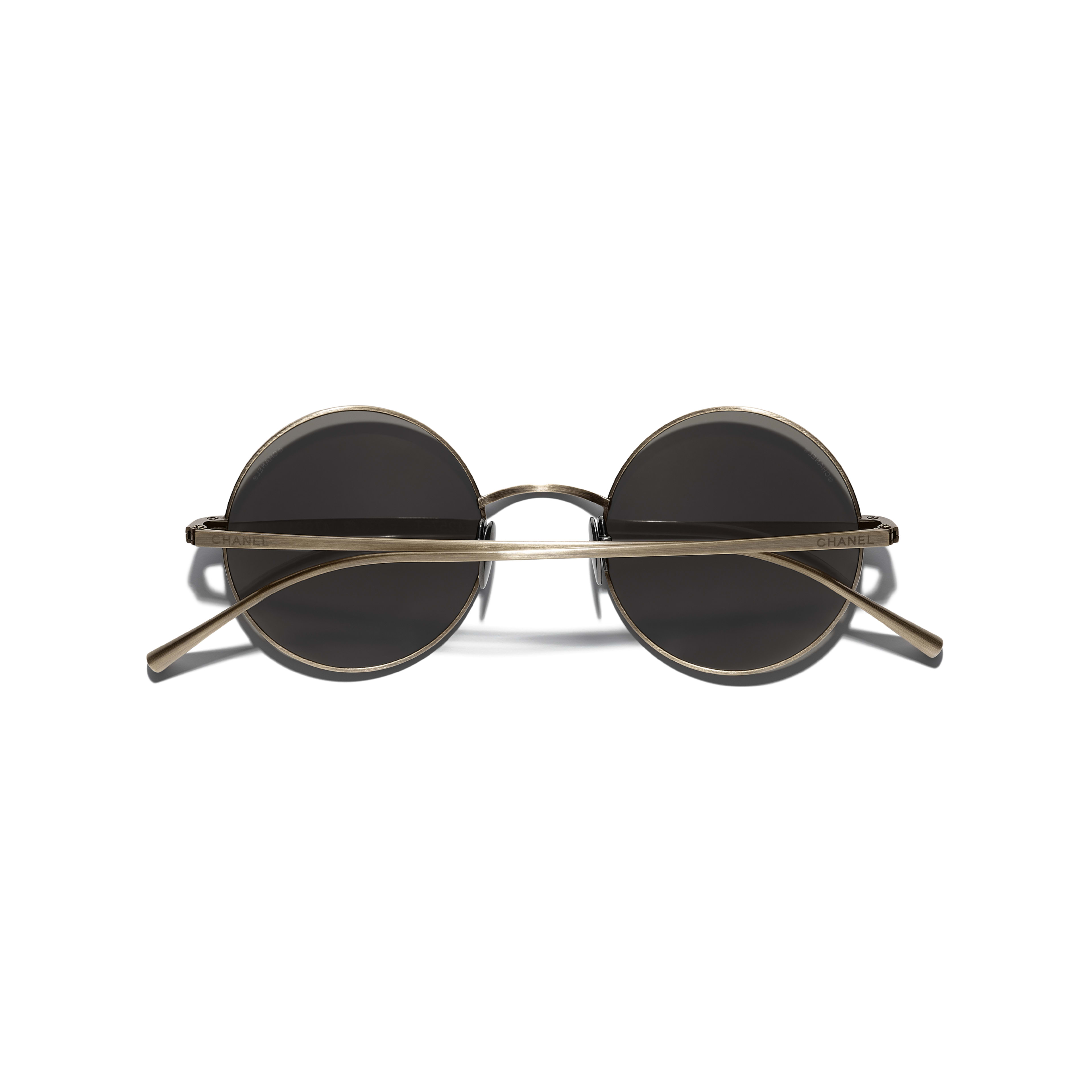 Round Sunglasses - Gold - Titanium - Extra view - see standard sized version
