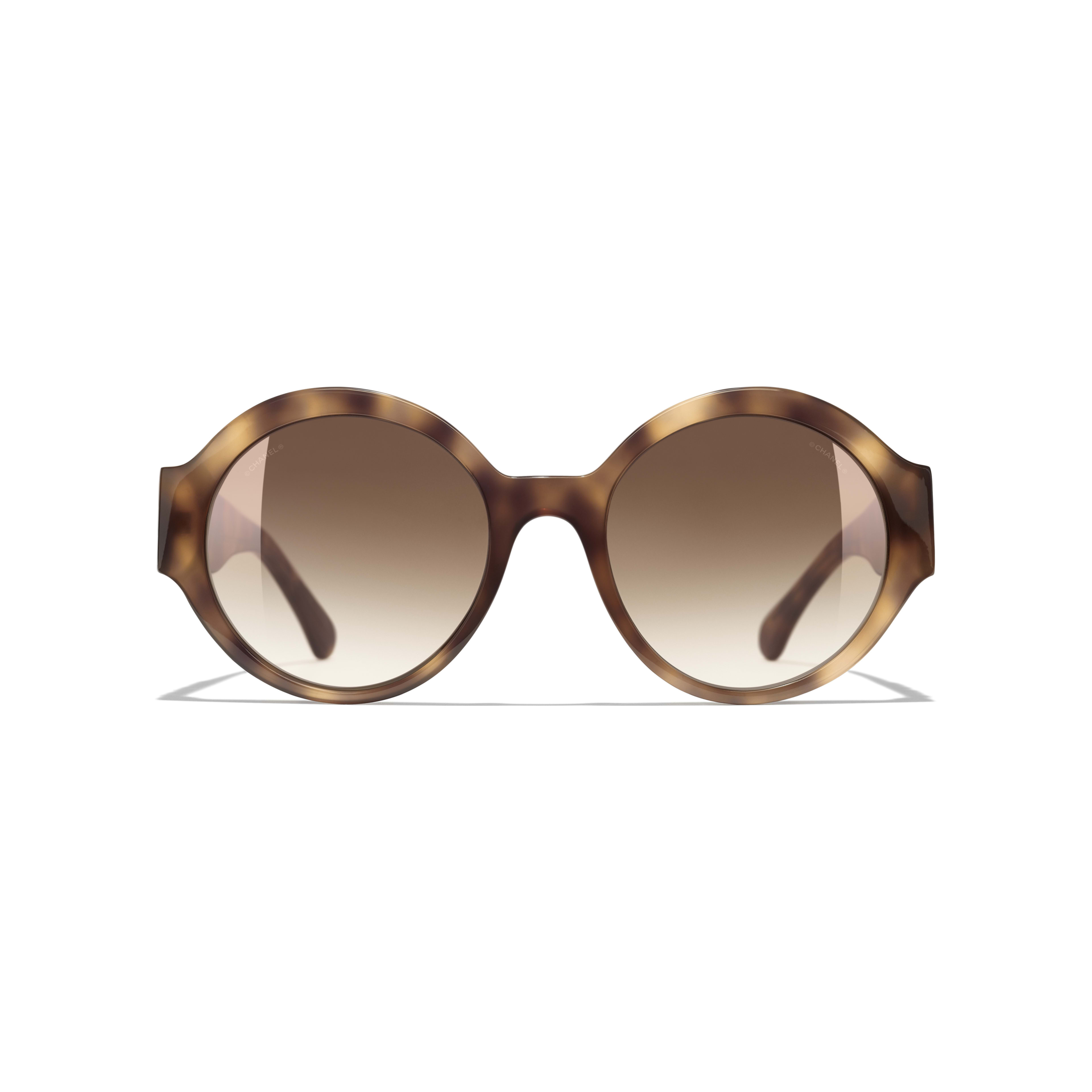 Round Sunglasses - Light Tortoise - Acetate - CHANEL - Alternative view - see standard sized version