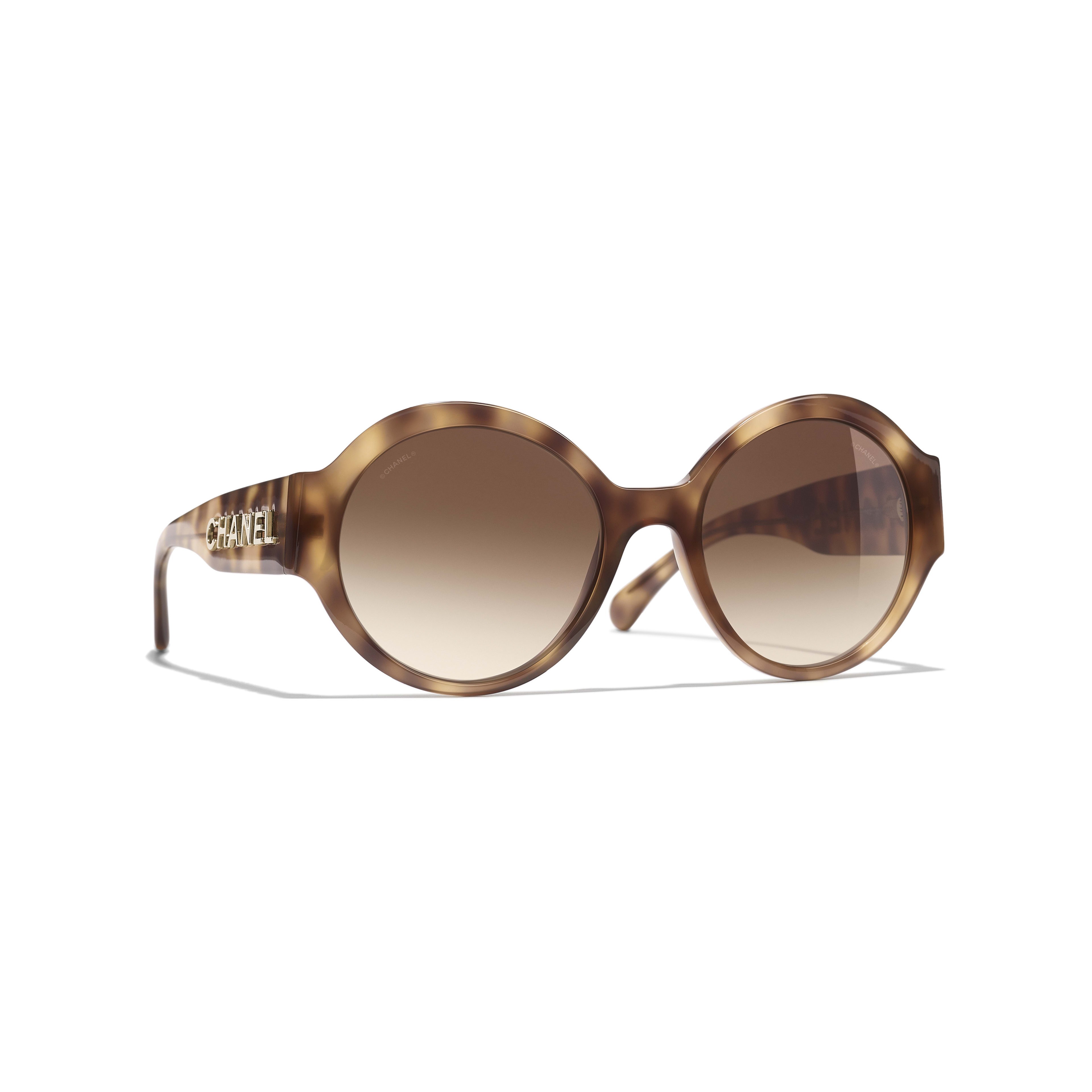 Round Sunglasses - Light Tortoise - Acetate - CHANEL - Default view - see standard sized version