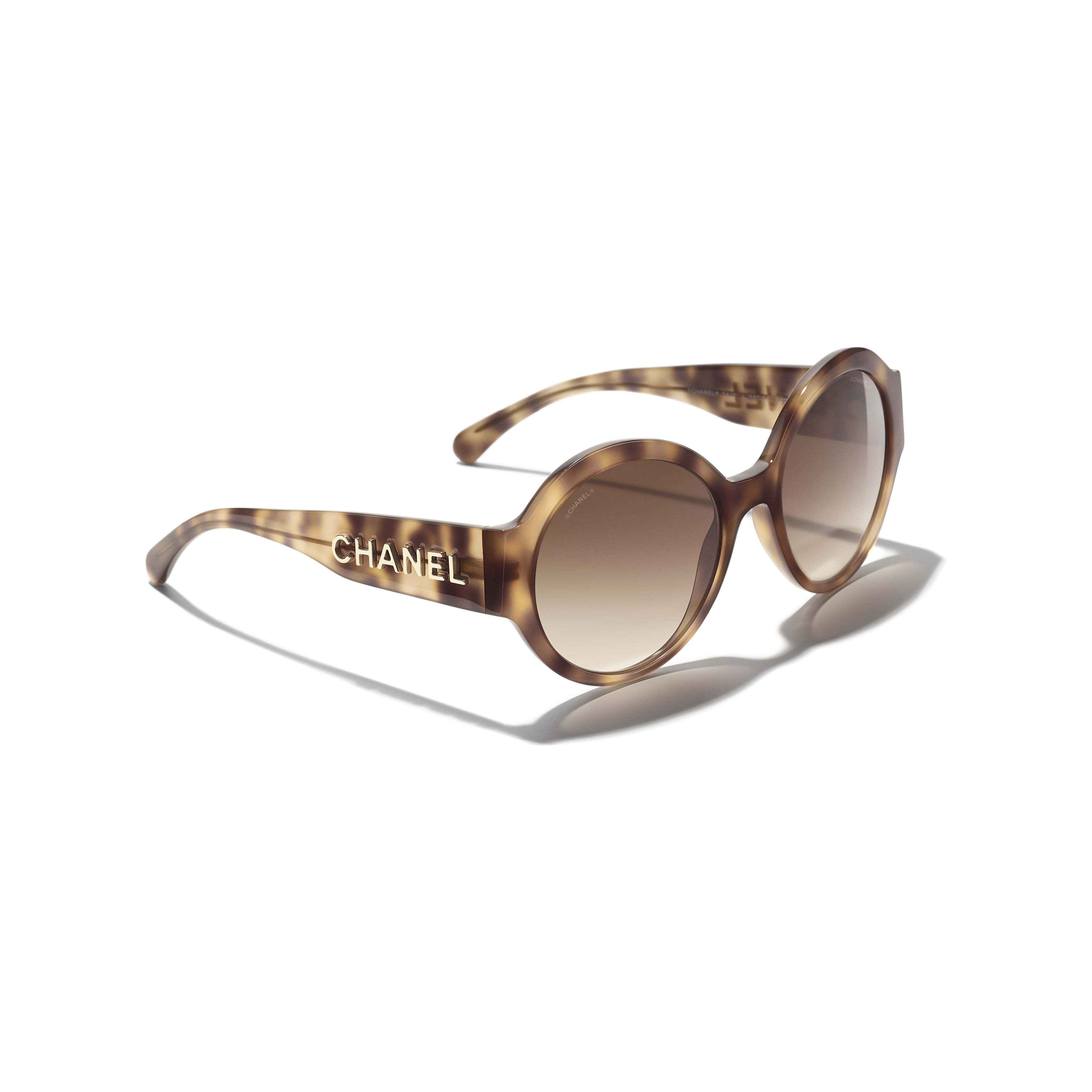 Round Sunglasses - Light Tortoise - Acetate - CHANEL - Extra view - see standard sized version