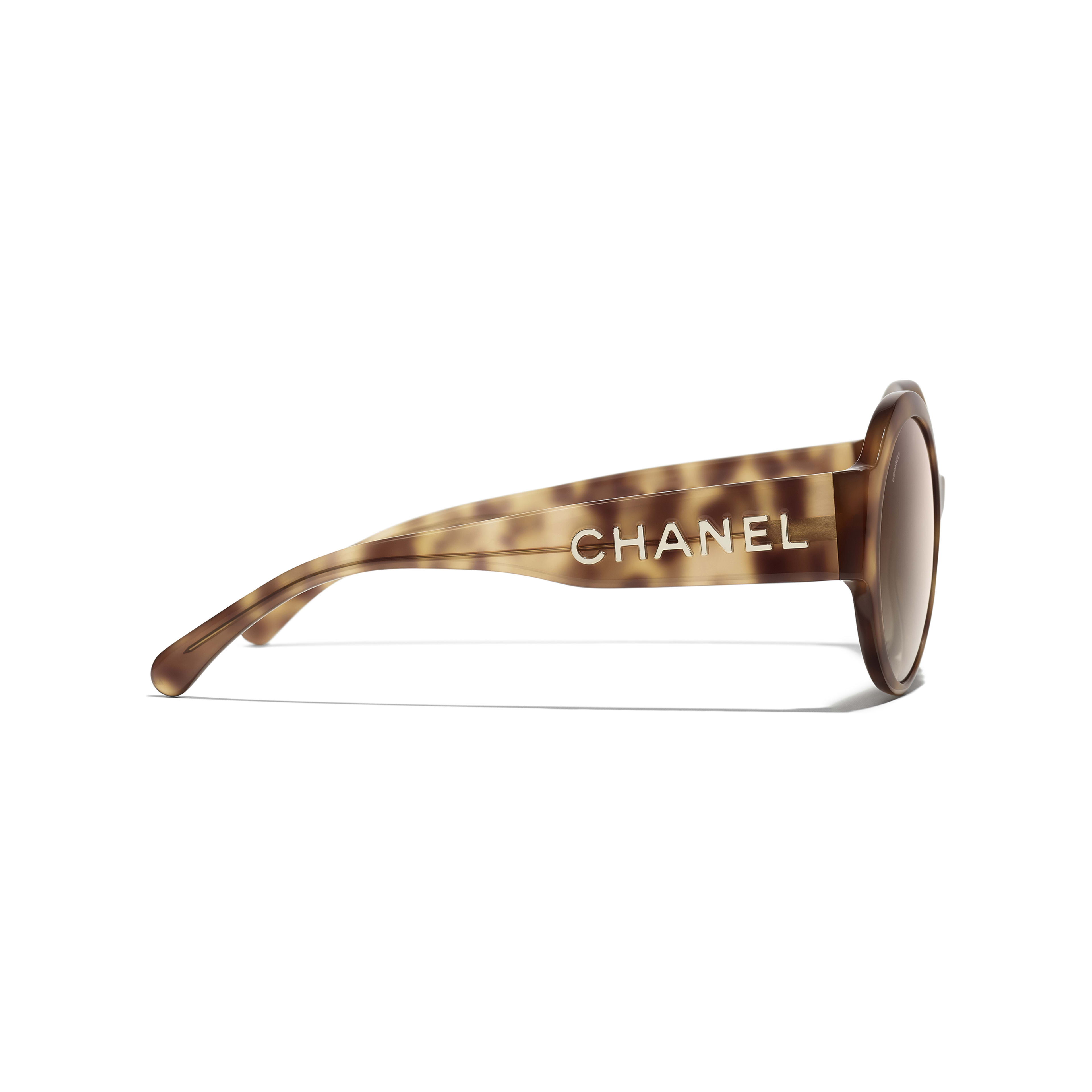 Round Sunglasses - Light Tortoise - Acetate - CHANEL - Other view - see standard sized version