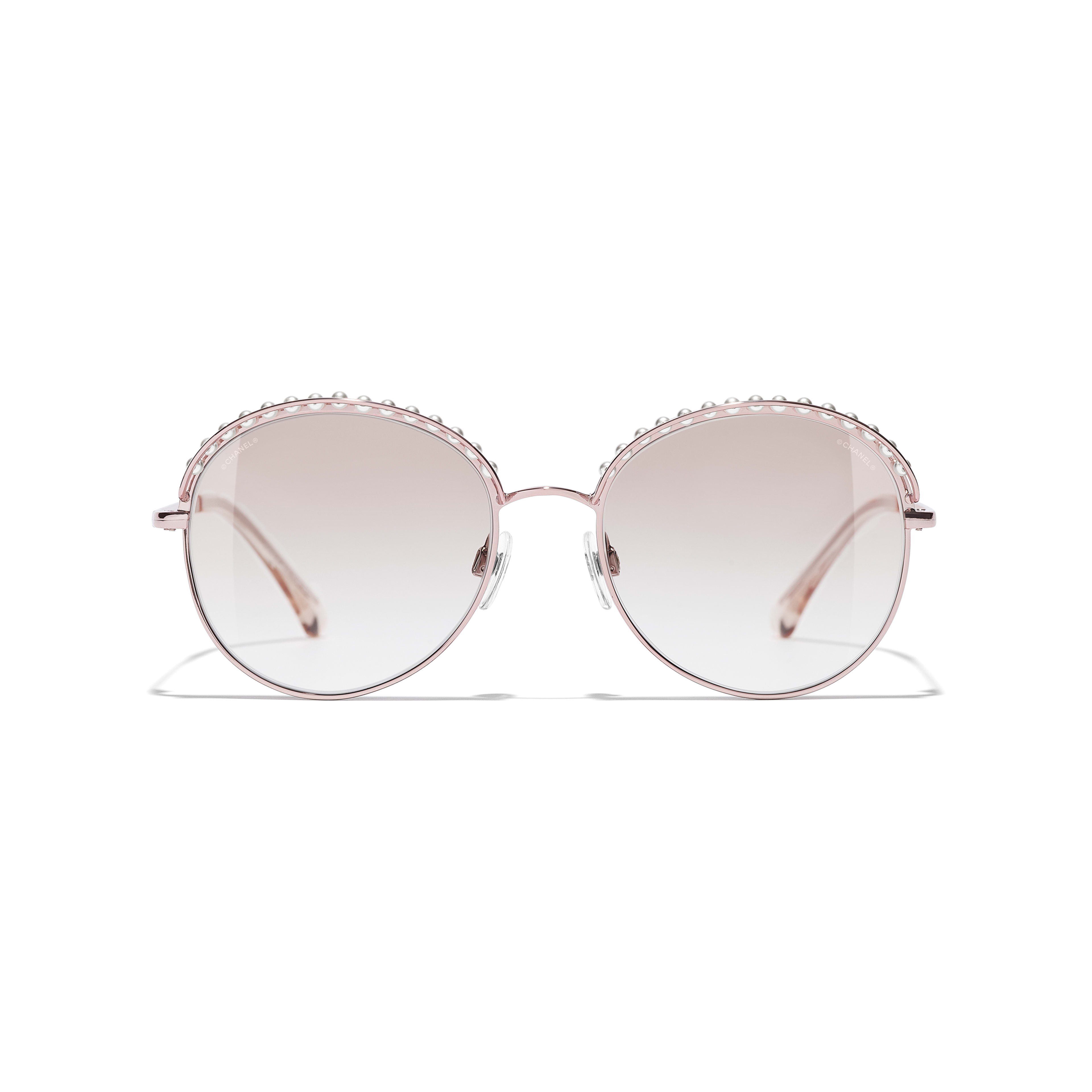 Round Sunglasses - Pinky Gold - Metal & Imitation Pearls - Alternative view - see standard sized version