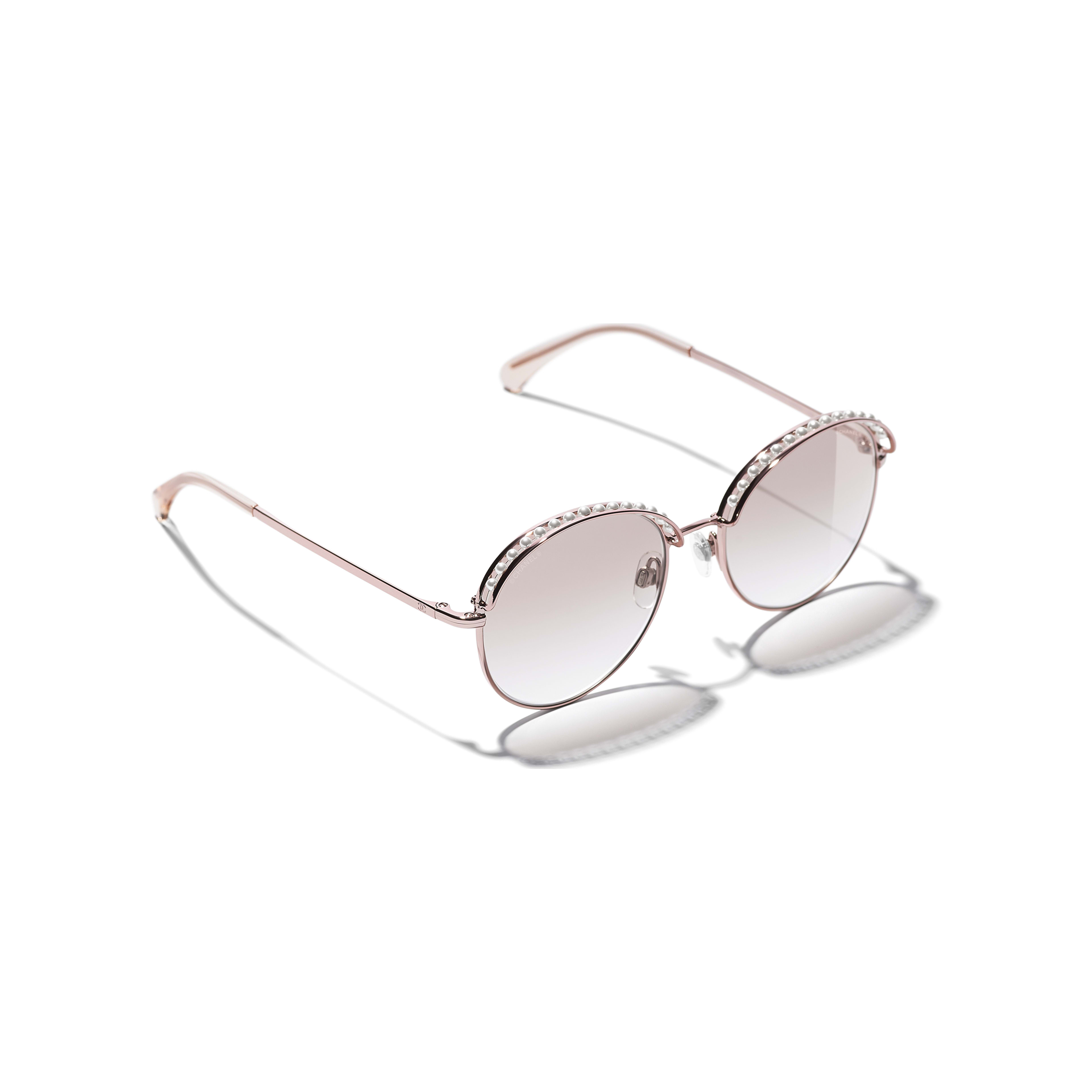 Round Sunglasses - Pinky Gold - Metal & Imitation Pearls - CHANEL - Extra view - see standard sized version