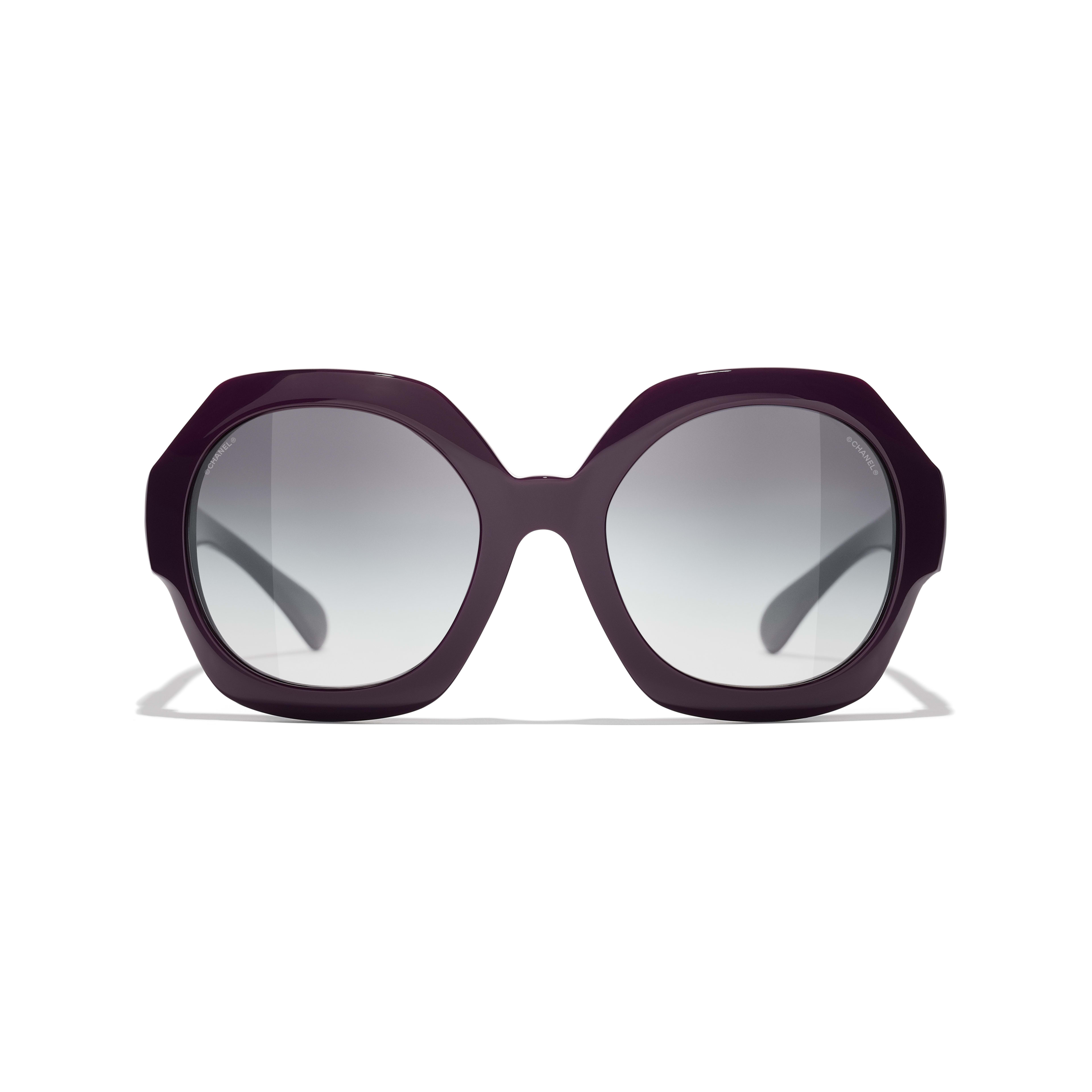 Round Sunglasses - Purple - Acetate - CHANEL - Alternative view - see standard sized version