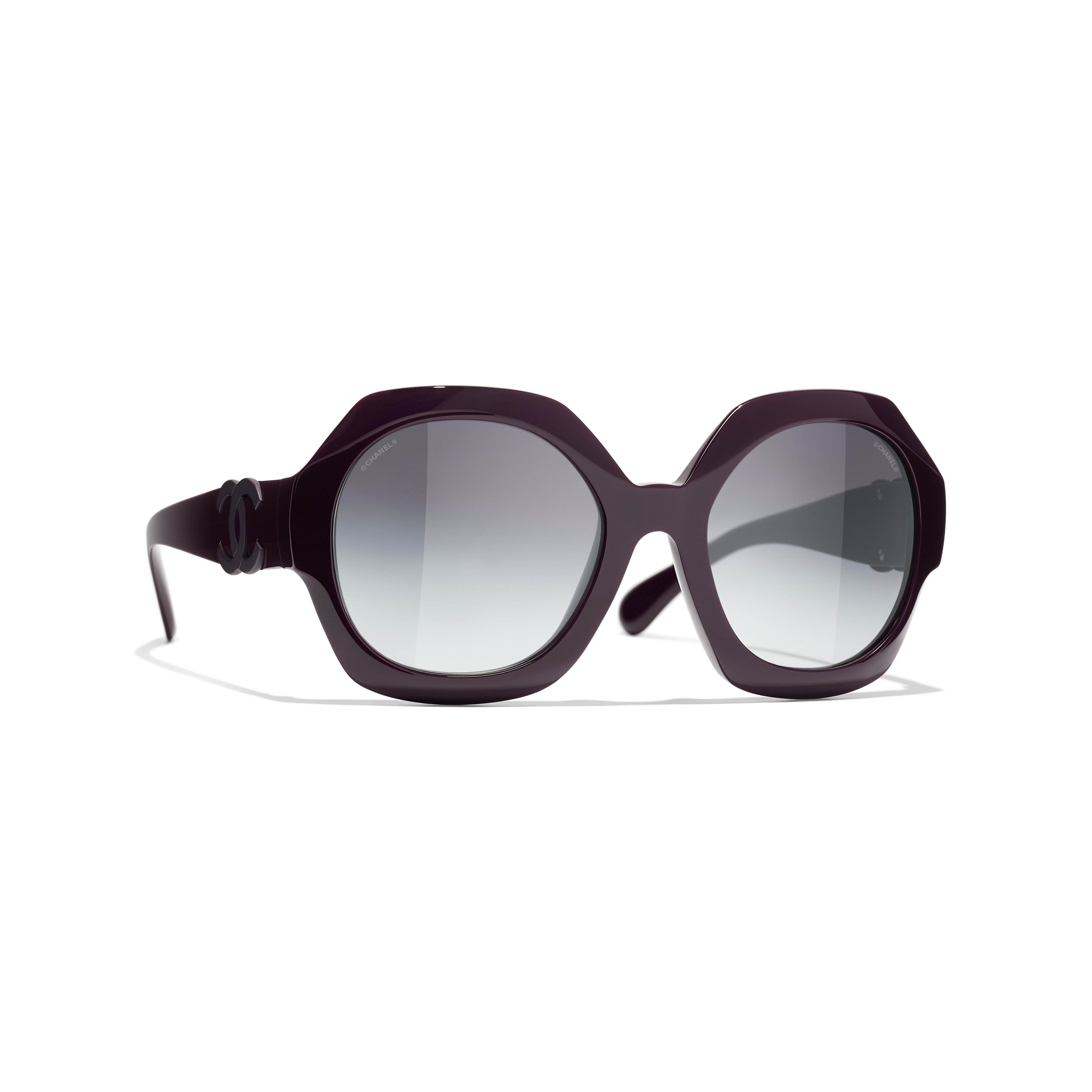 Round Sunglasses - Purple - Acetate - CHANEL - Default view - see standard sized version