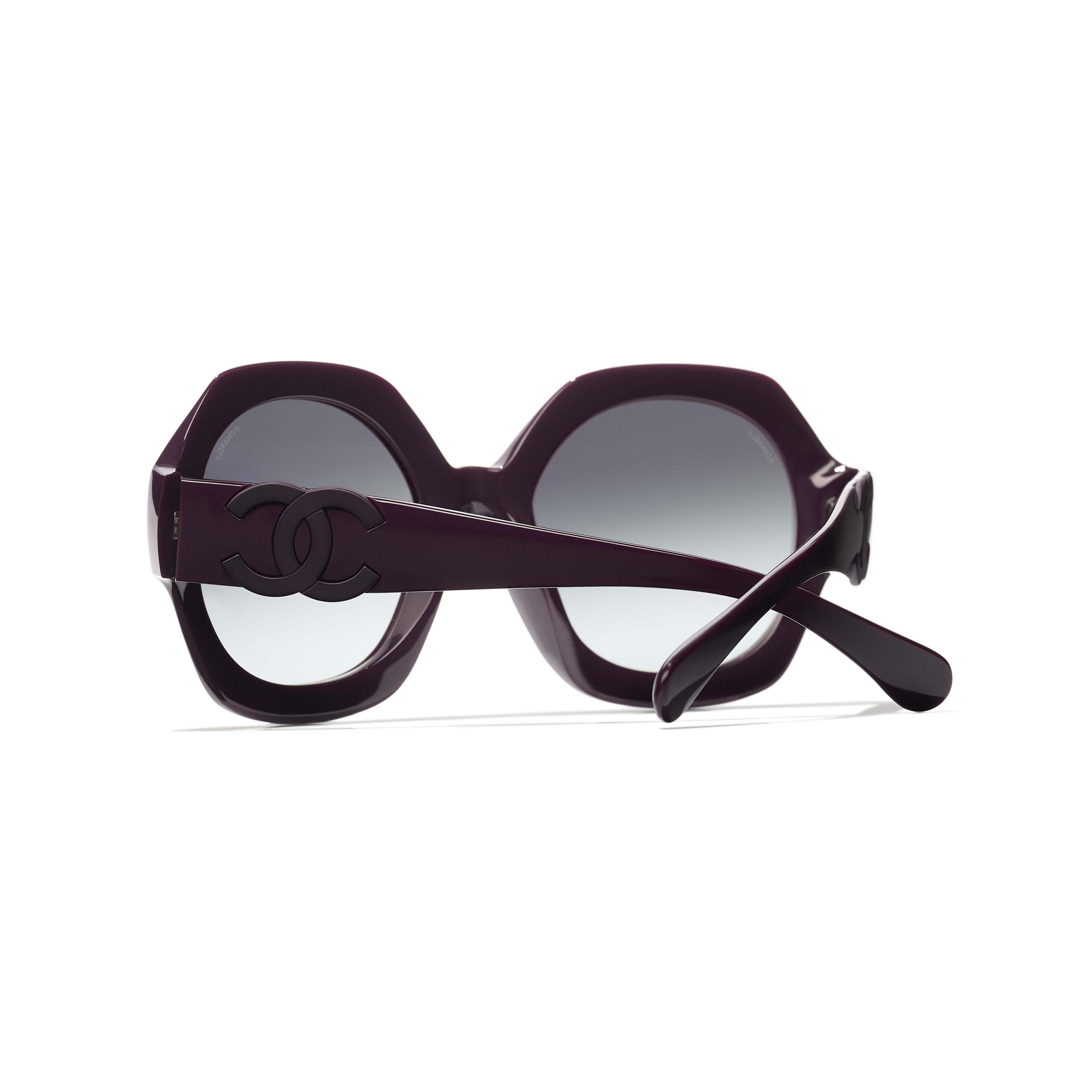 Round Sunglasses - Purple - Acetate - CHANEL - Extra view - see standard sized version