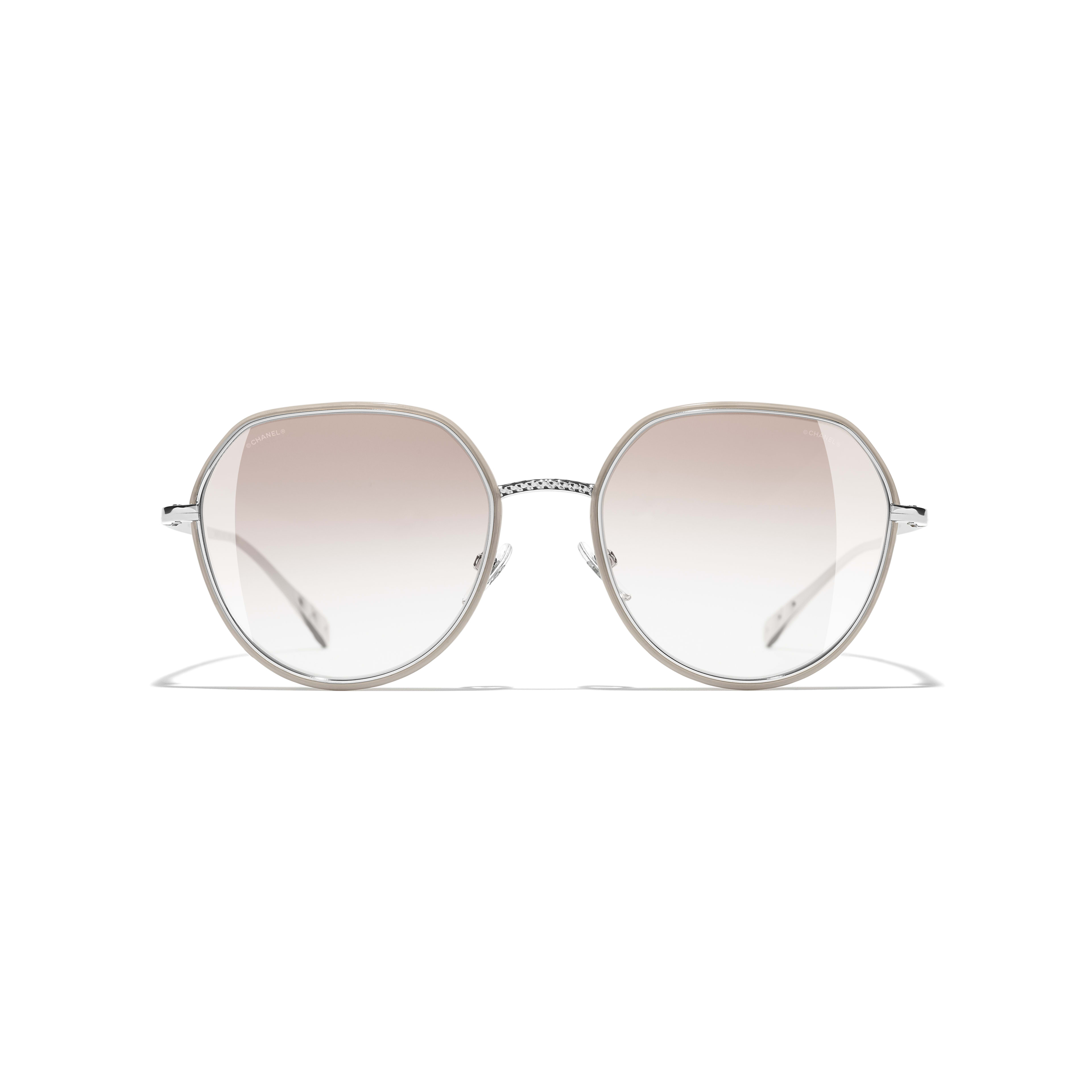 Round Sunglasses - Silver & Beige - Metal - CHANEL - Alternative view - see standard sized version