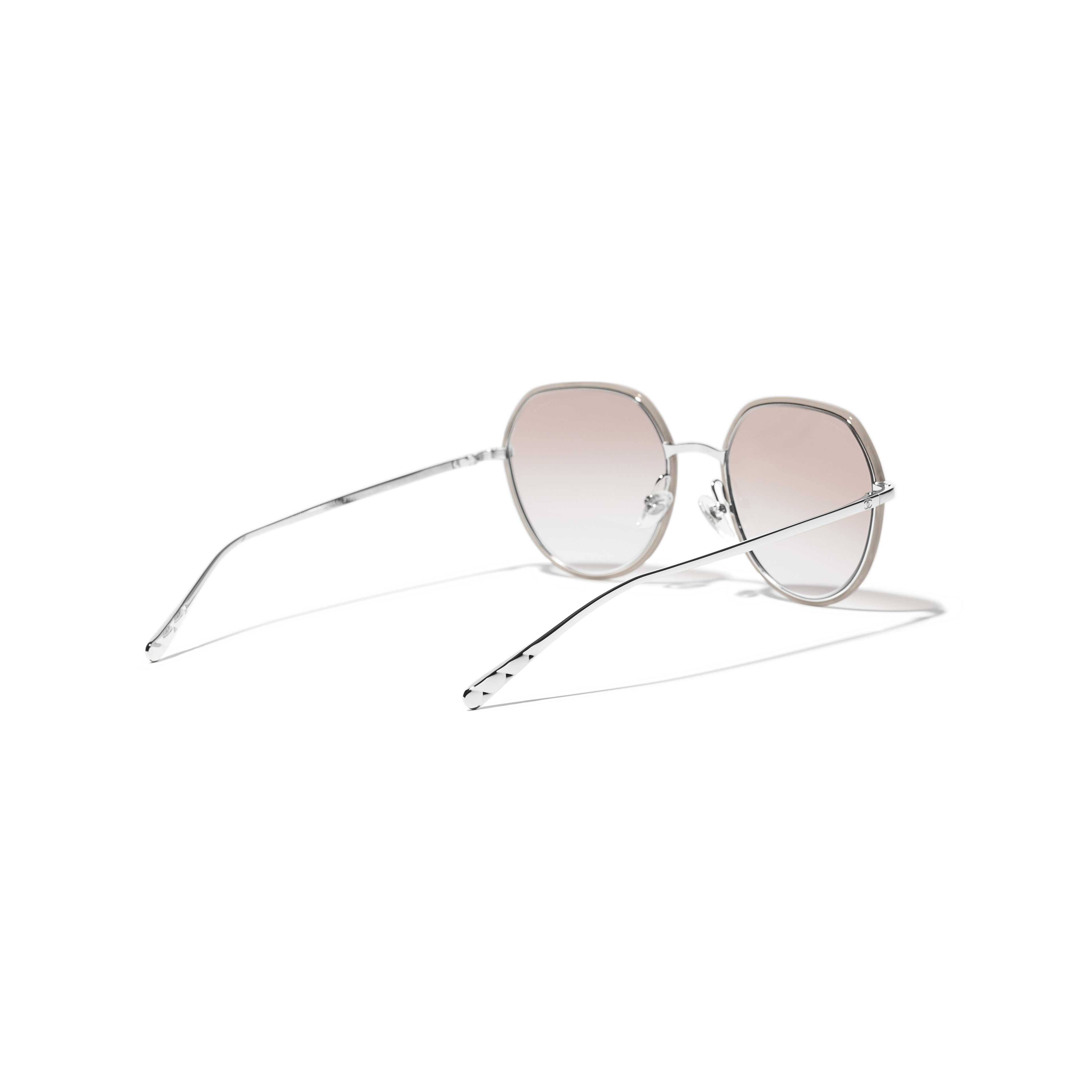Round Sunglasses - Silver & Beige - Metal - CHANEL - Extra view - see standard sized version