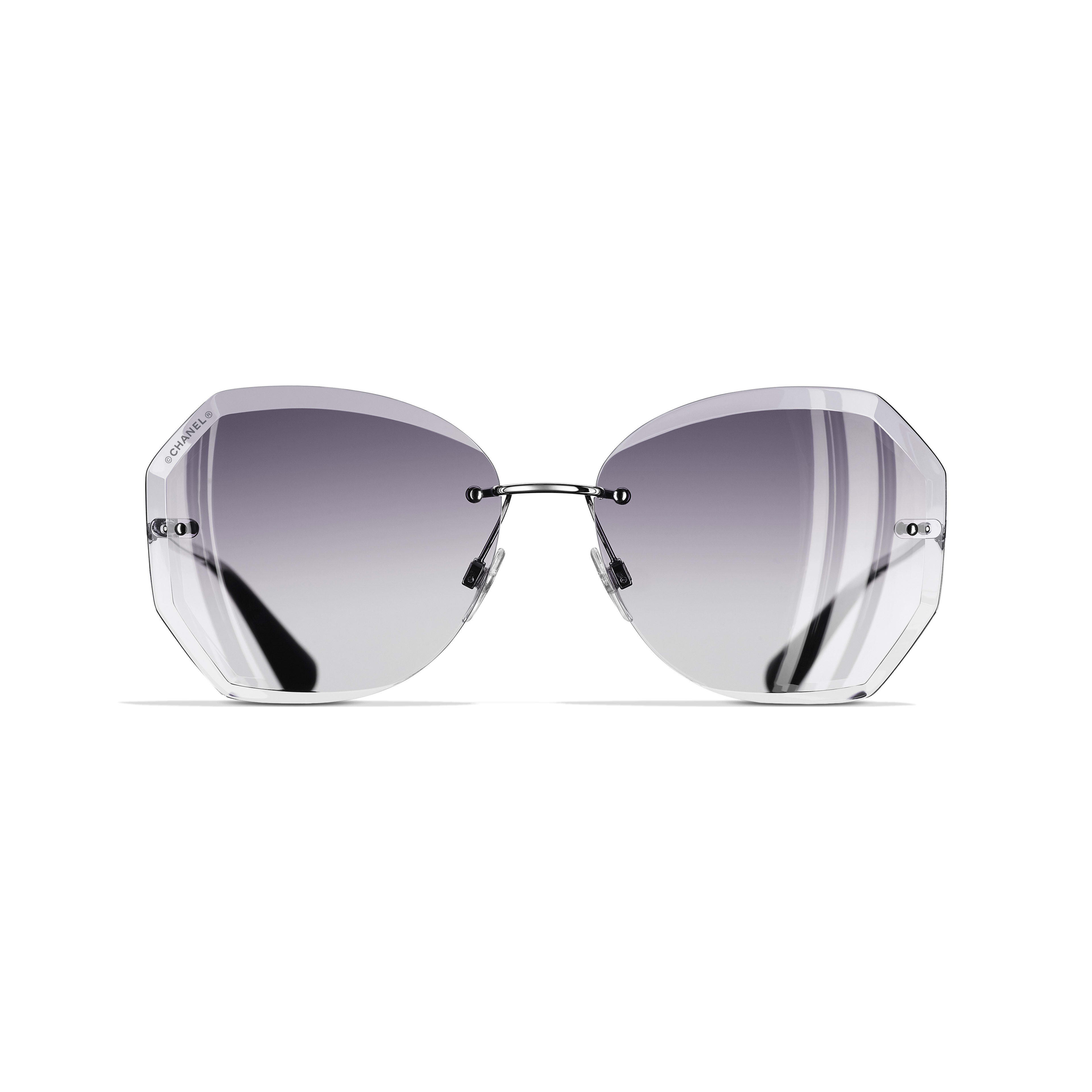 Round Sunglasses - Silver & Grey - Metal - Alternative view - see standard sized version