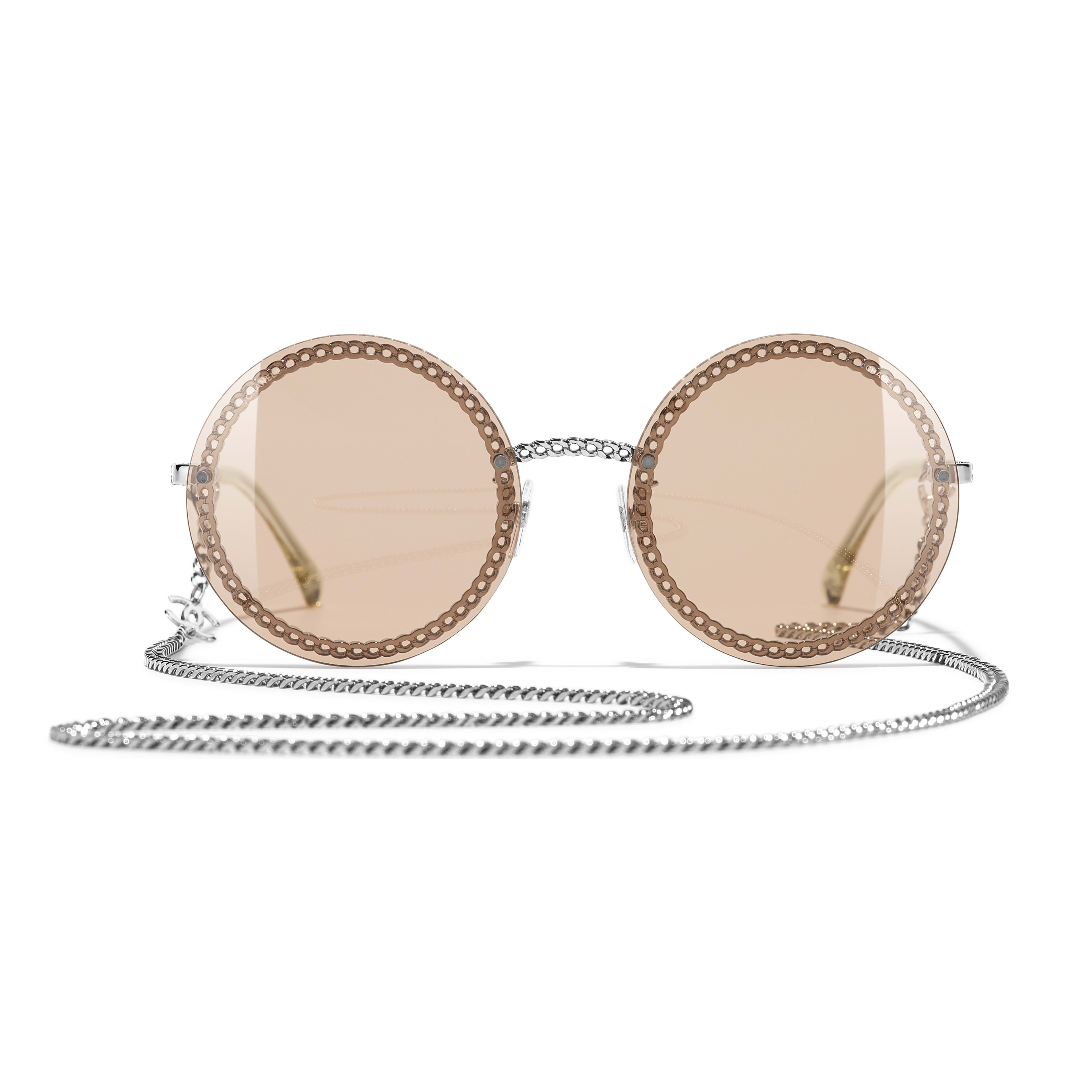 Round Sunglasses - Silver - Metal - CHANEL - Alternative view - see standard sized version