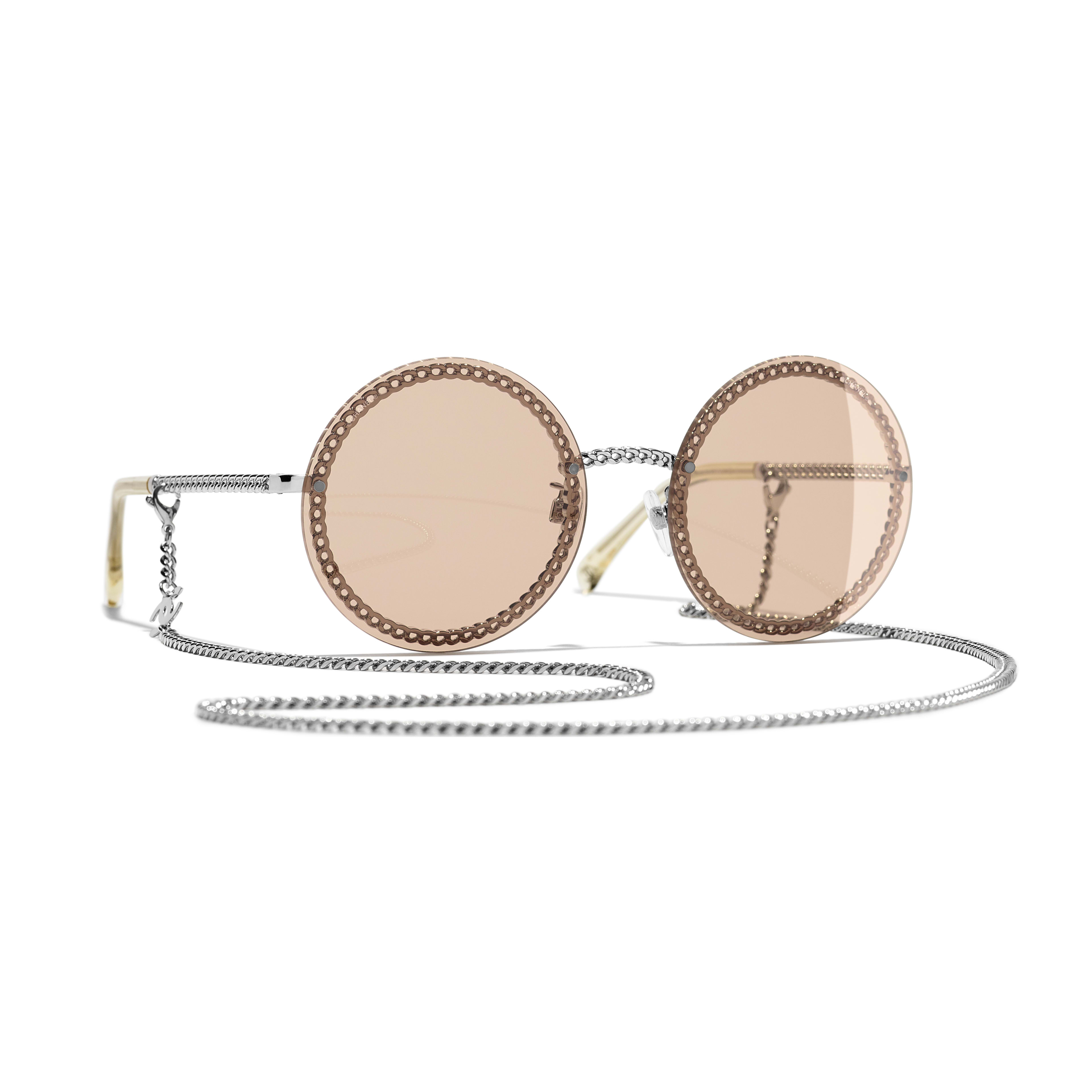 Round Sunglasses - Silver - Metal - CHANEL - Default view - see standard sized version