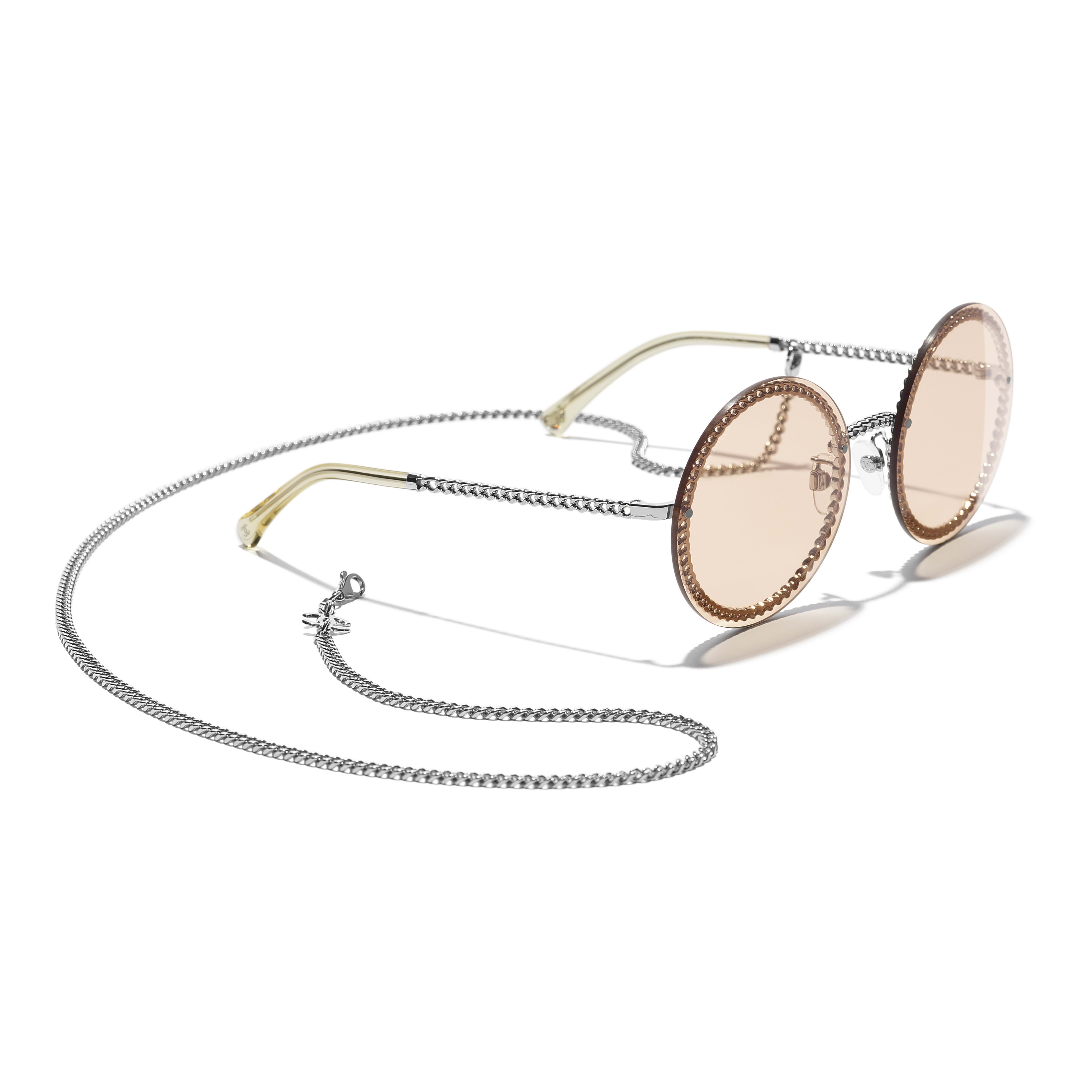 Round Sunglasses - Silver - Metal - CHANEL - Extra view - see standard sized version