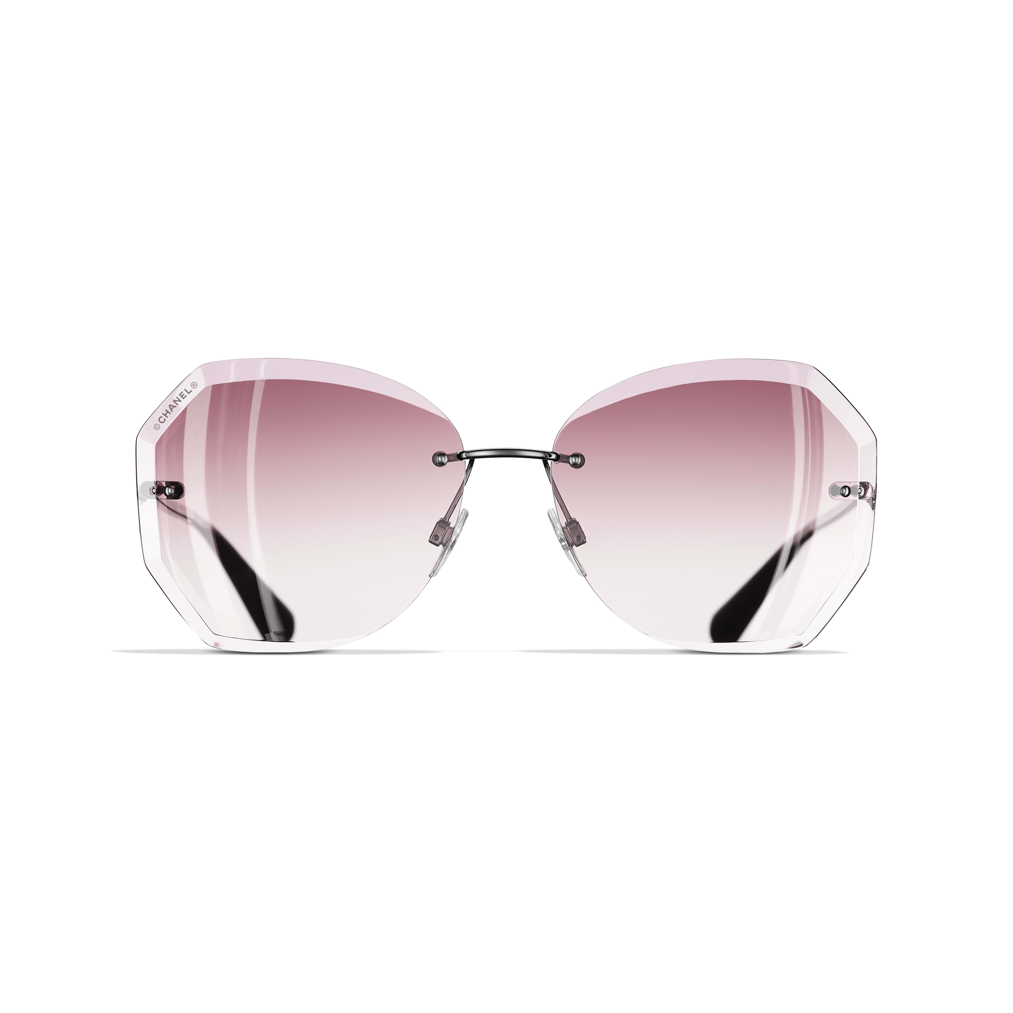 Round Sunglasses - Silver & Pink - Metal - Alternative view - see standard sized version