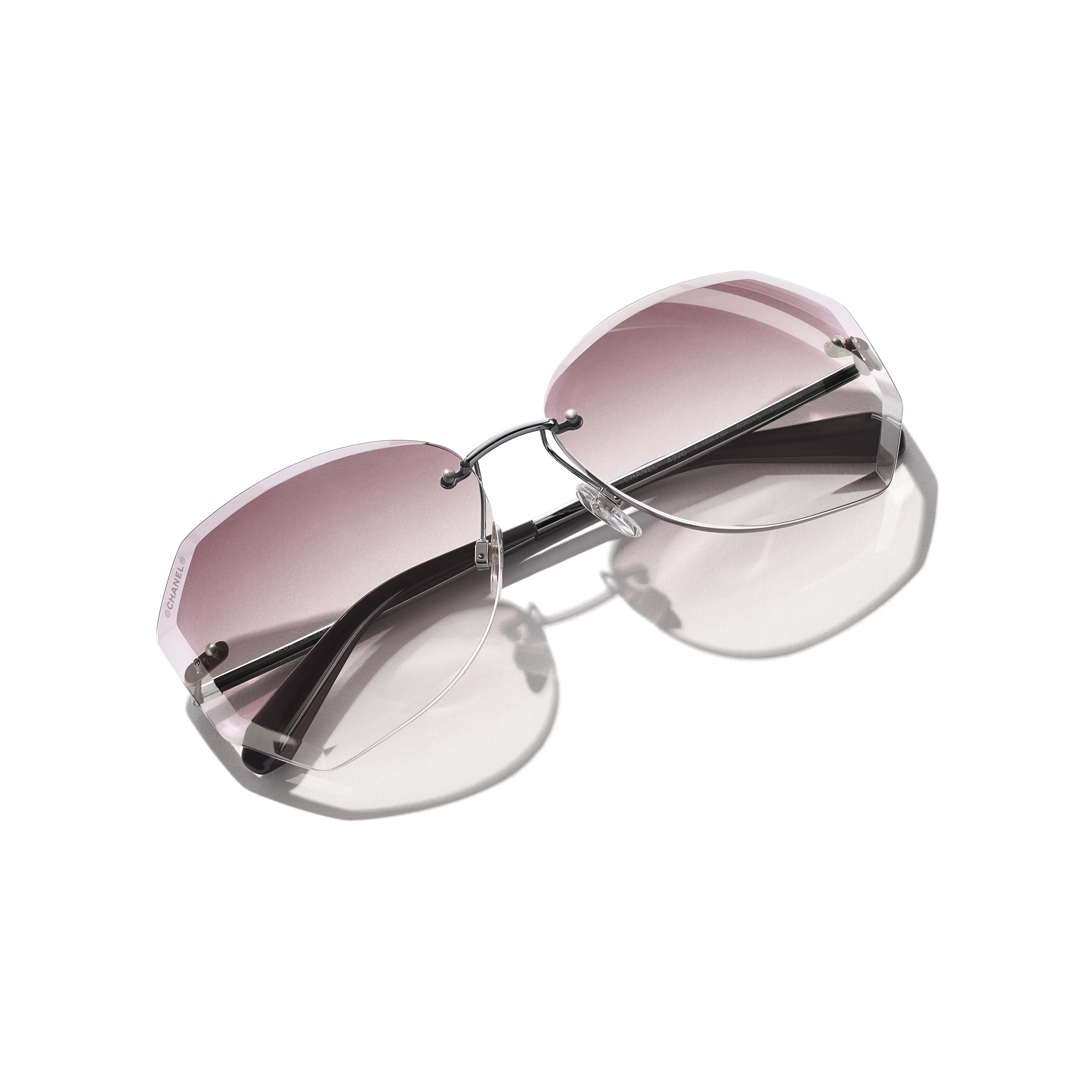 Round Sunglasses - Silver & Pink - Metal - Extra view - see standard sized version