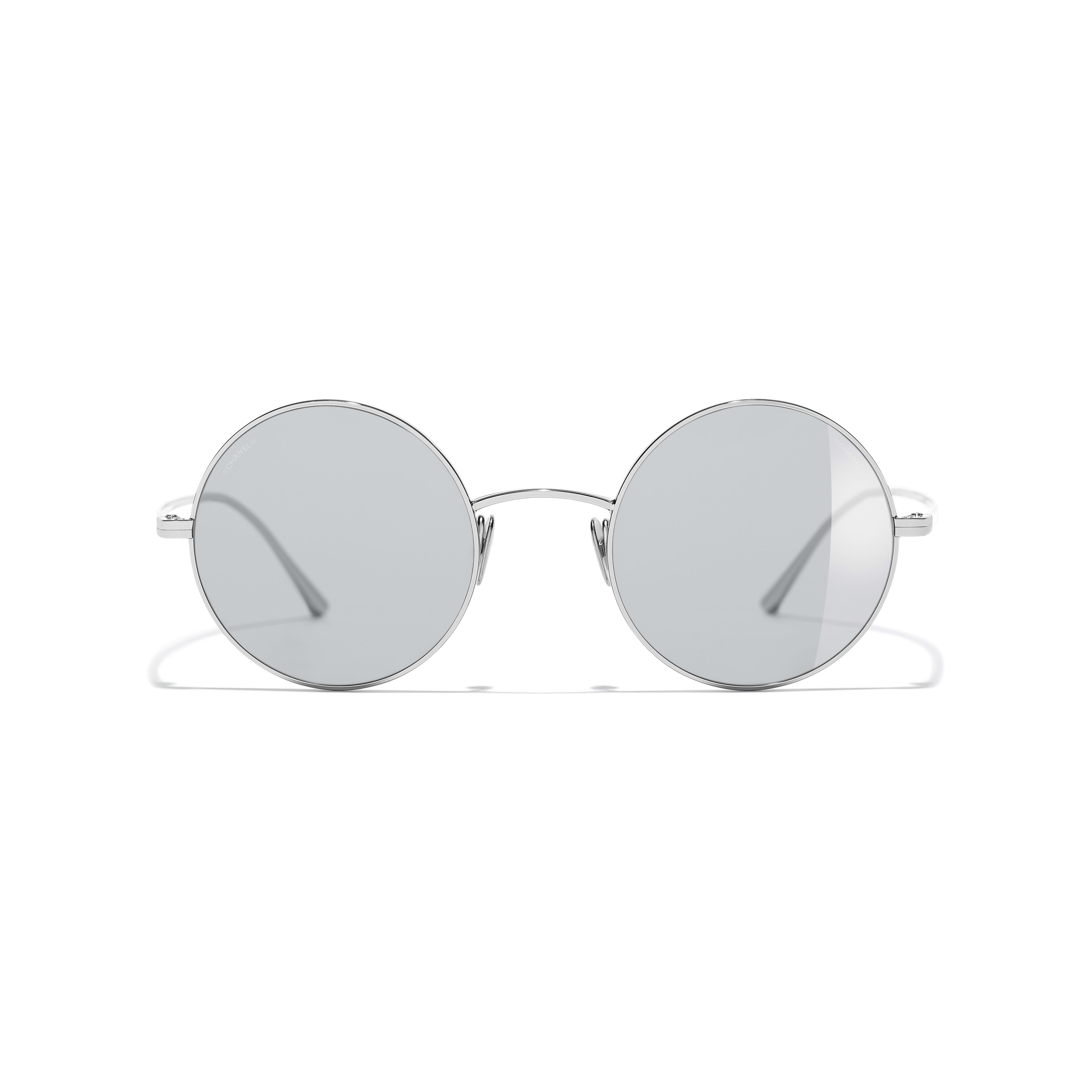 Round Sunglasses - Silver - Titanium - CHANEL - Alternative view - see standard sized version