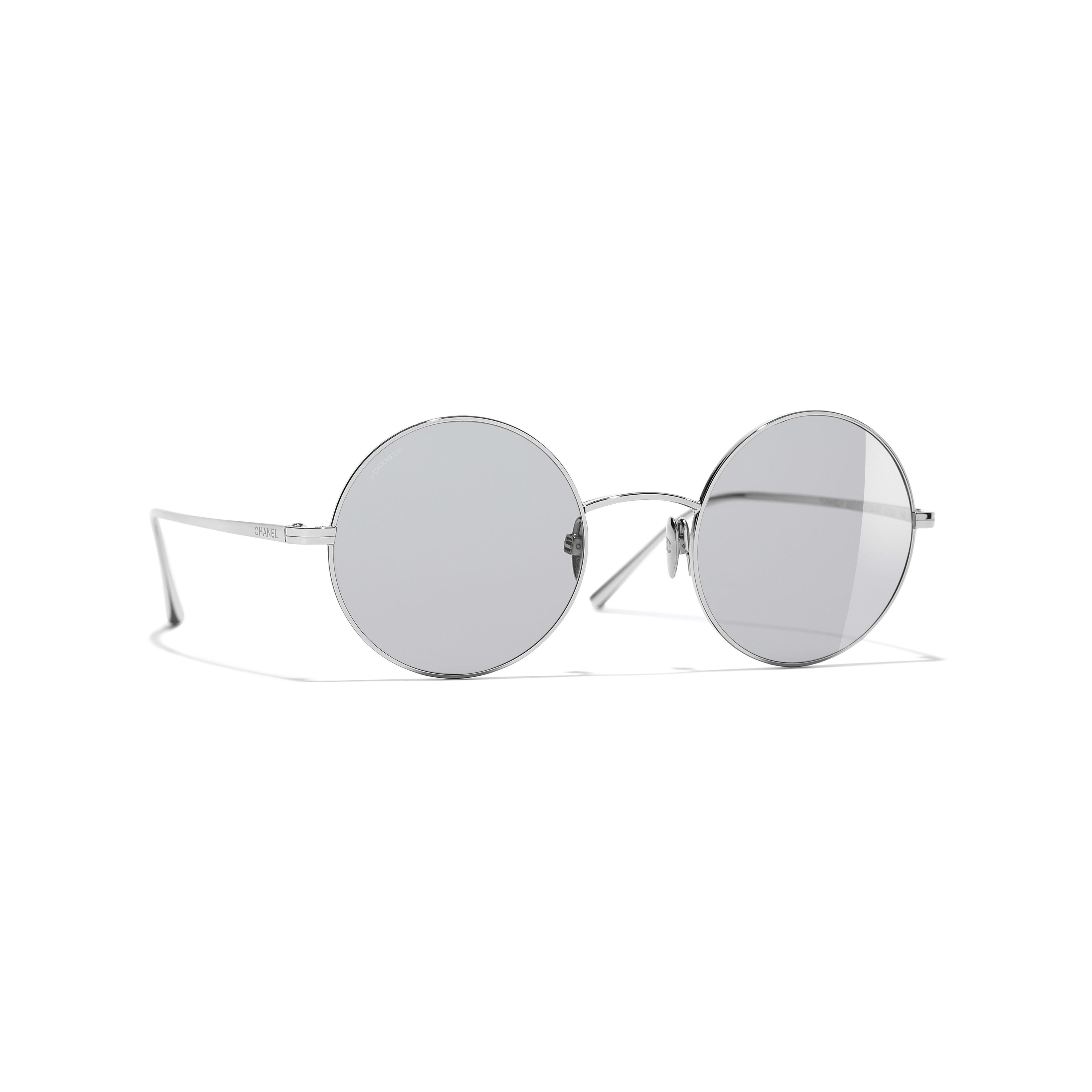 Round Sunglasses - Silver - Titanium - CHANEL - Default view - see standard sized version
