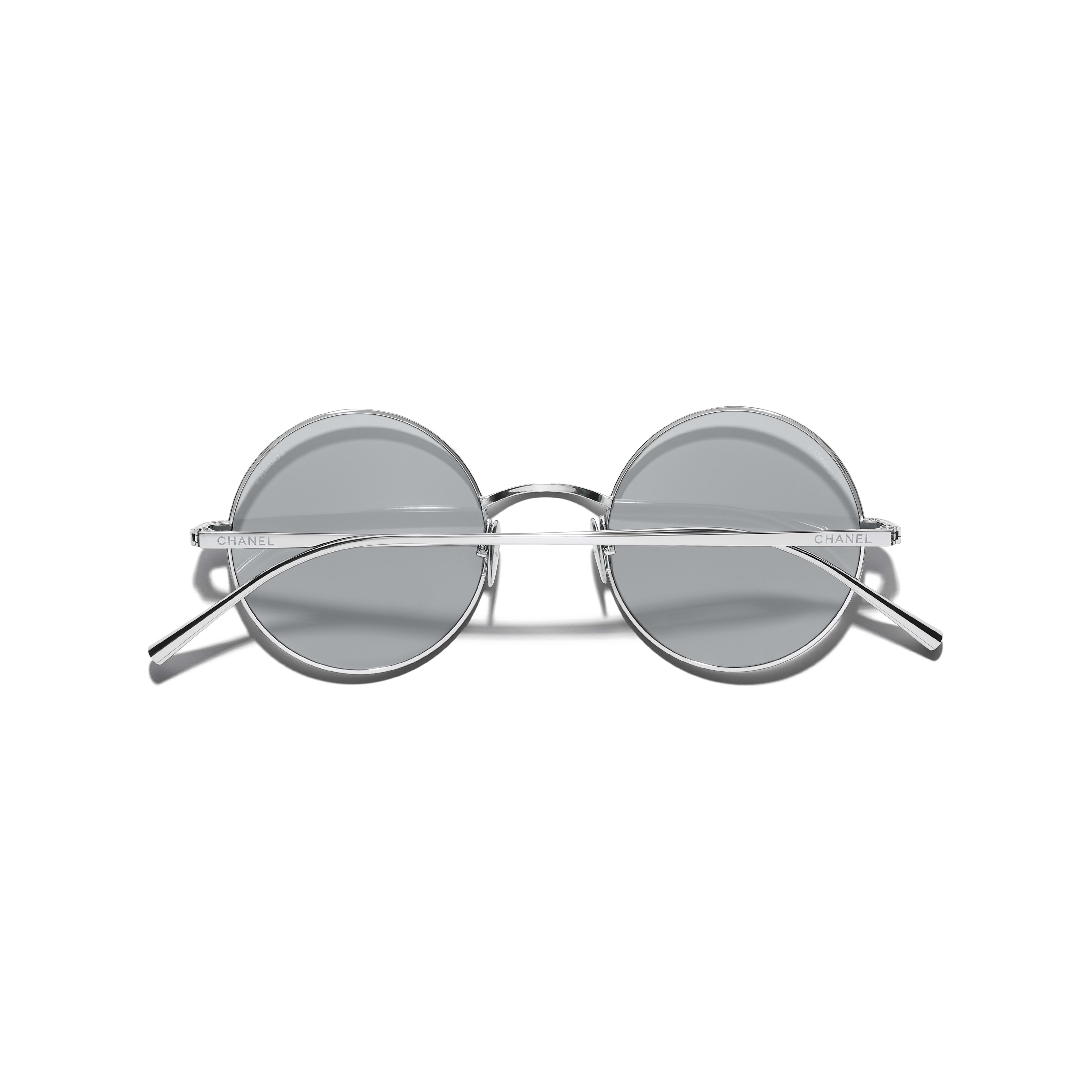 Round Sunglasses - Silver - Titanium - CHANEL - Extra view - see standard sized version