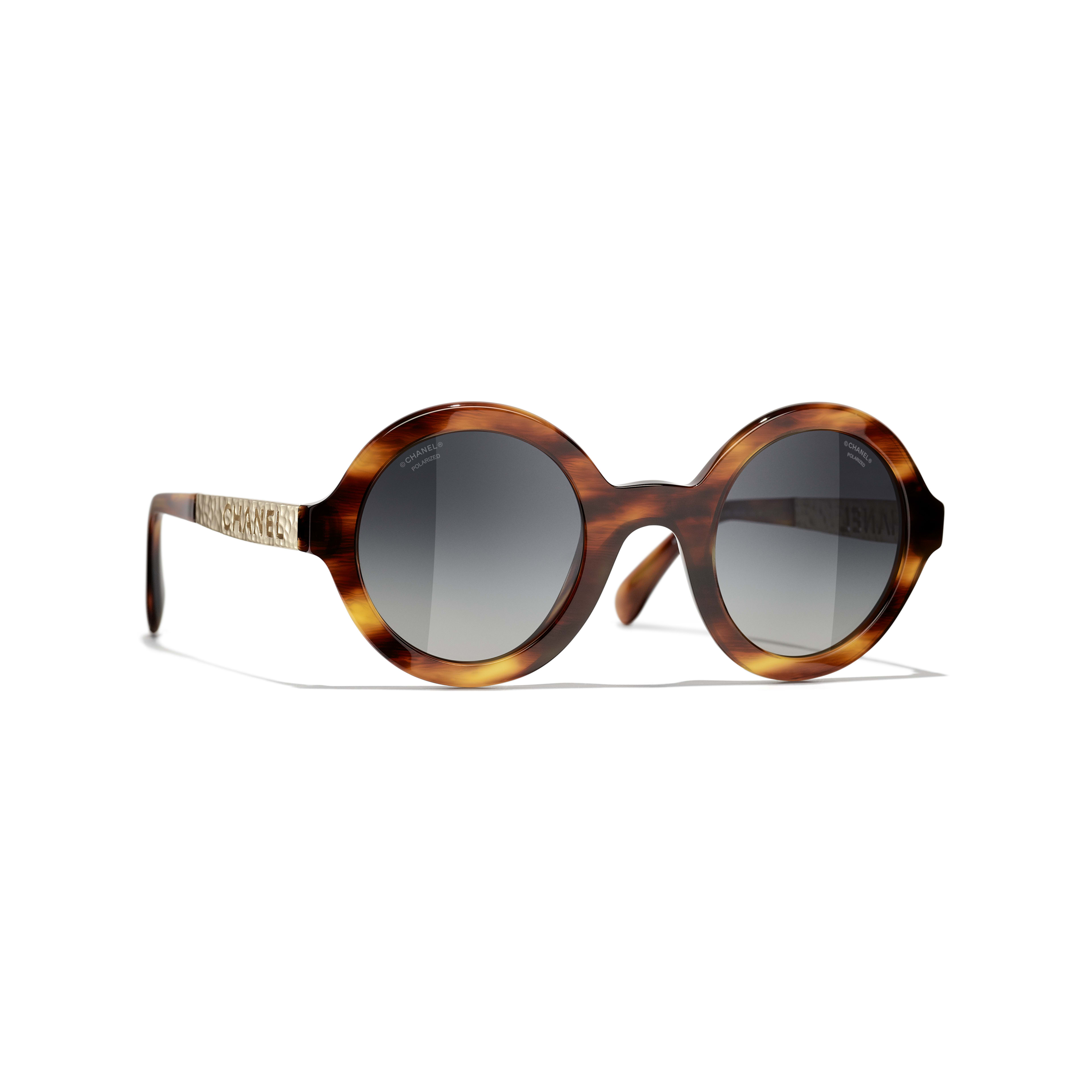 Round Sunglasses - Tortoise - Acetate & Metal - CHANEL - Default view - see standard sized version