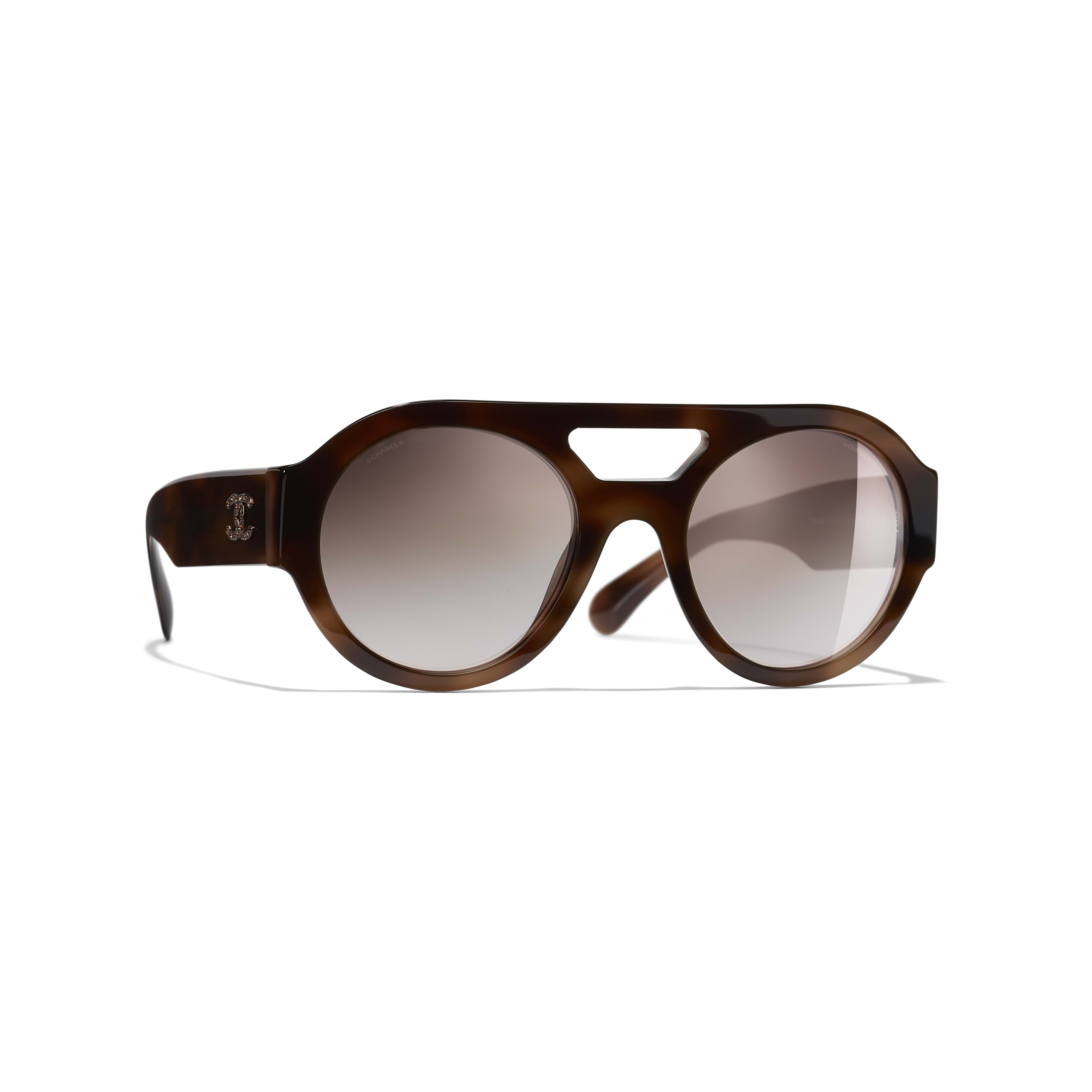 Round Sunglasses - Tortoise - Acetate & Diamanté - CHANEL - Default view - see standard sized version