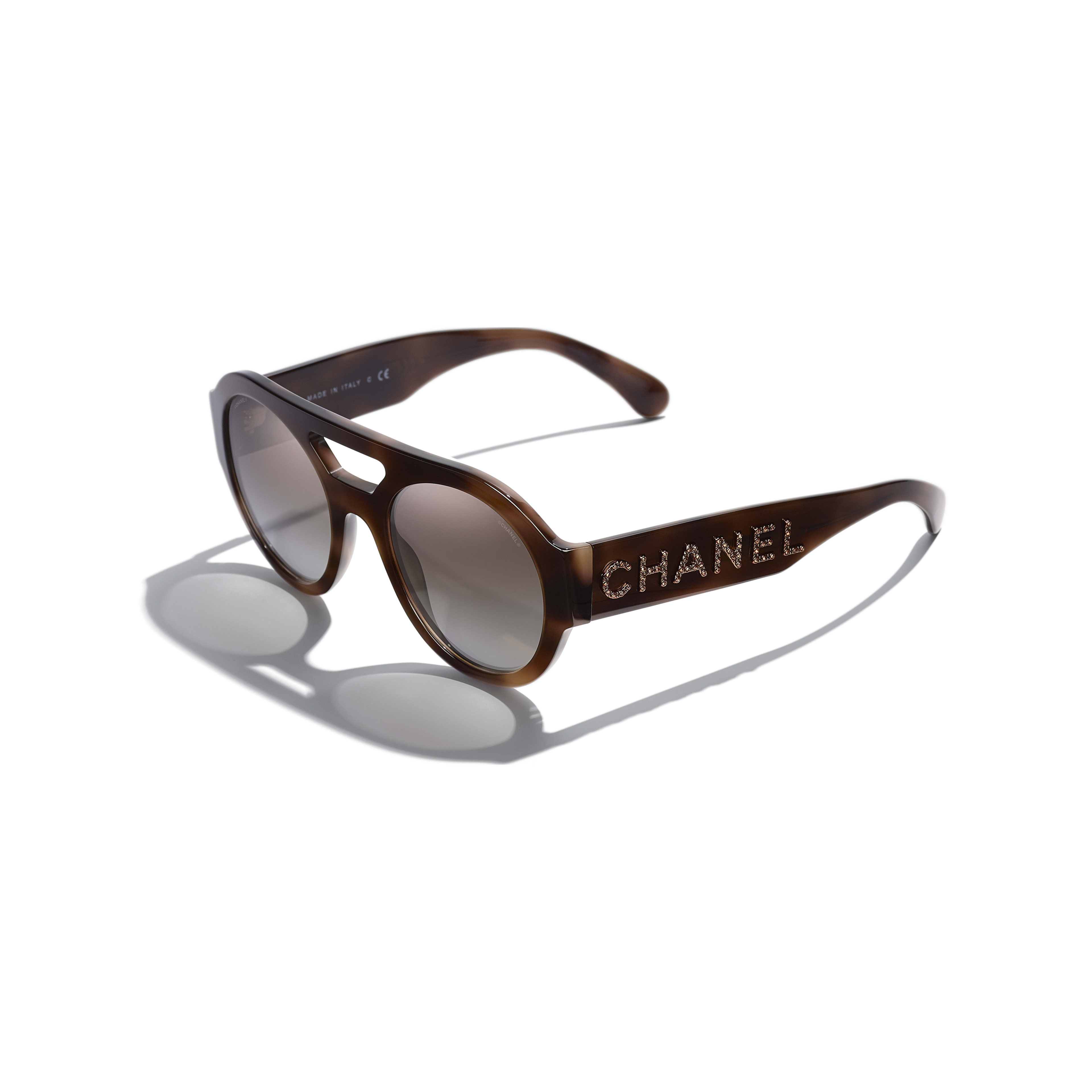 Round Sunglasses - Tortoise - Acetate & Diamanté - CHANEL - Extra view - see standard sized version