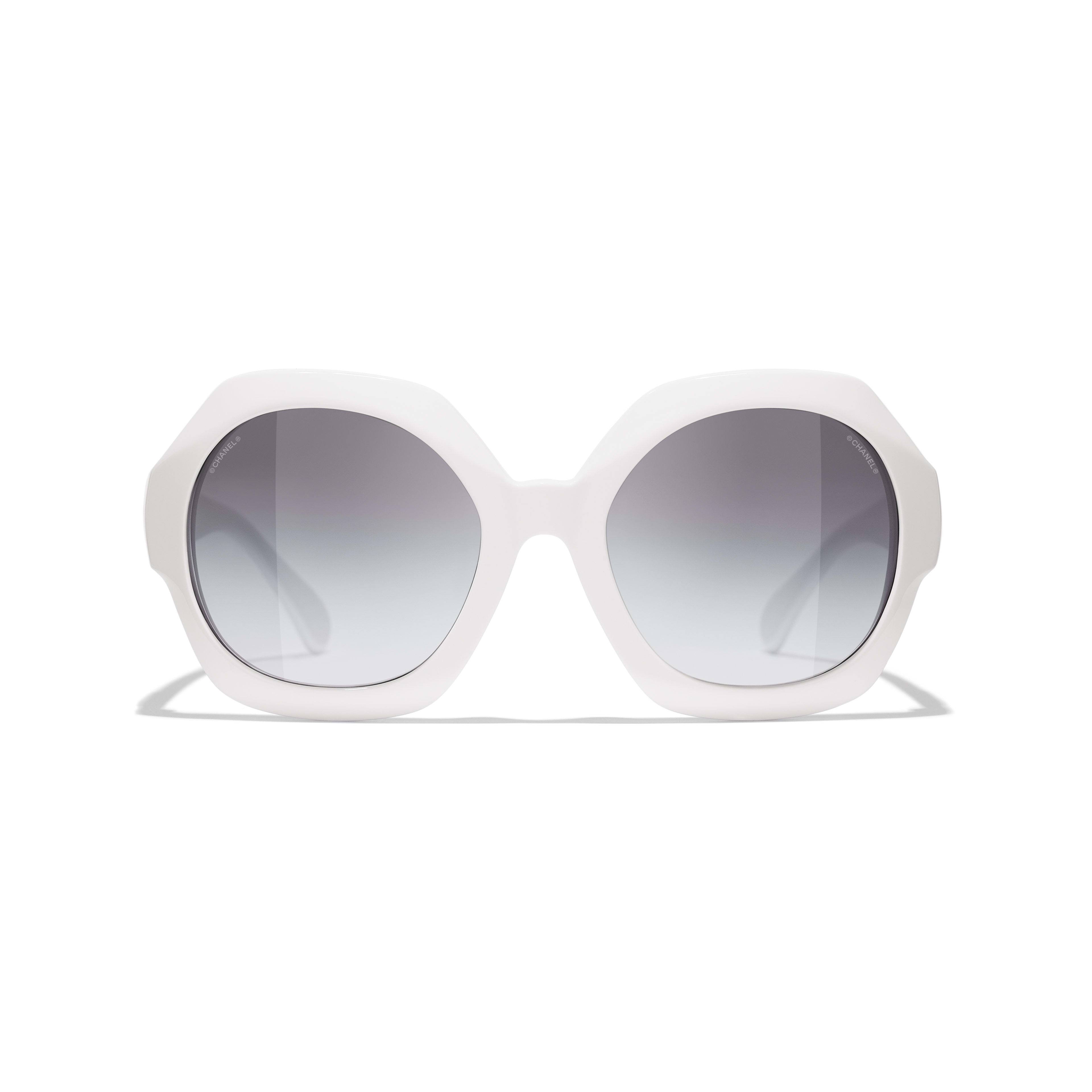 Round Sunglasses - White - Acetate - CHANEL - Alternative view - see standard sized version