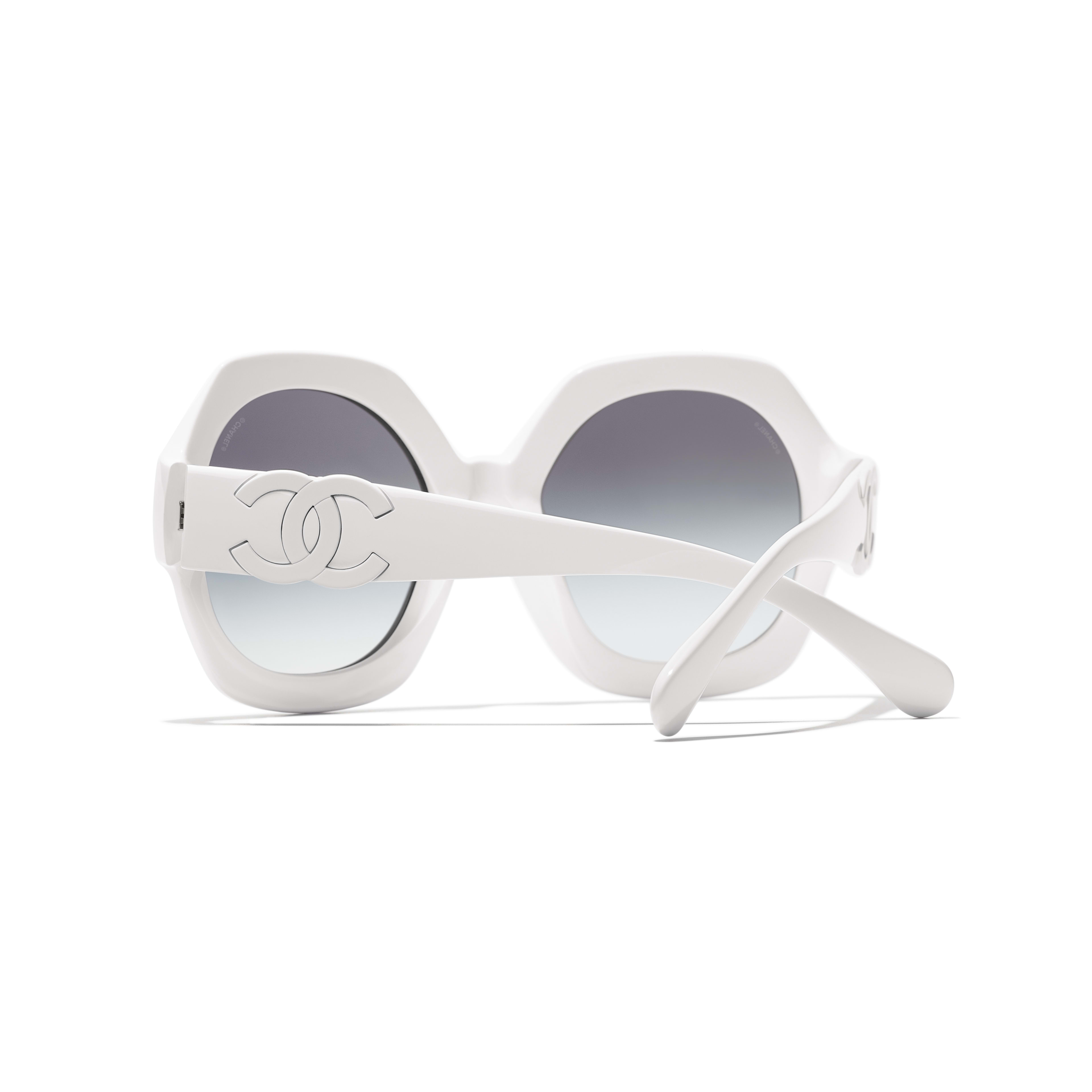 Round Sunglasses - White - Acetate - CHANEL - Extra view - see standard sized version