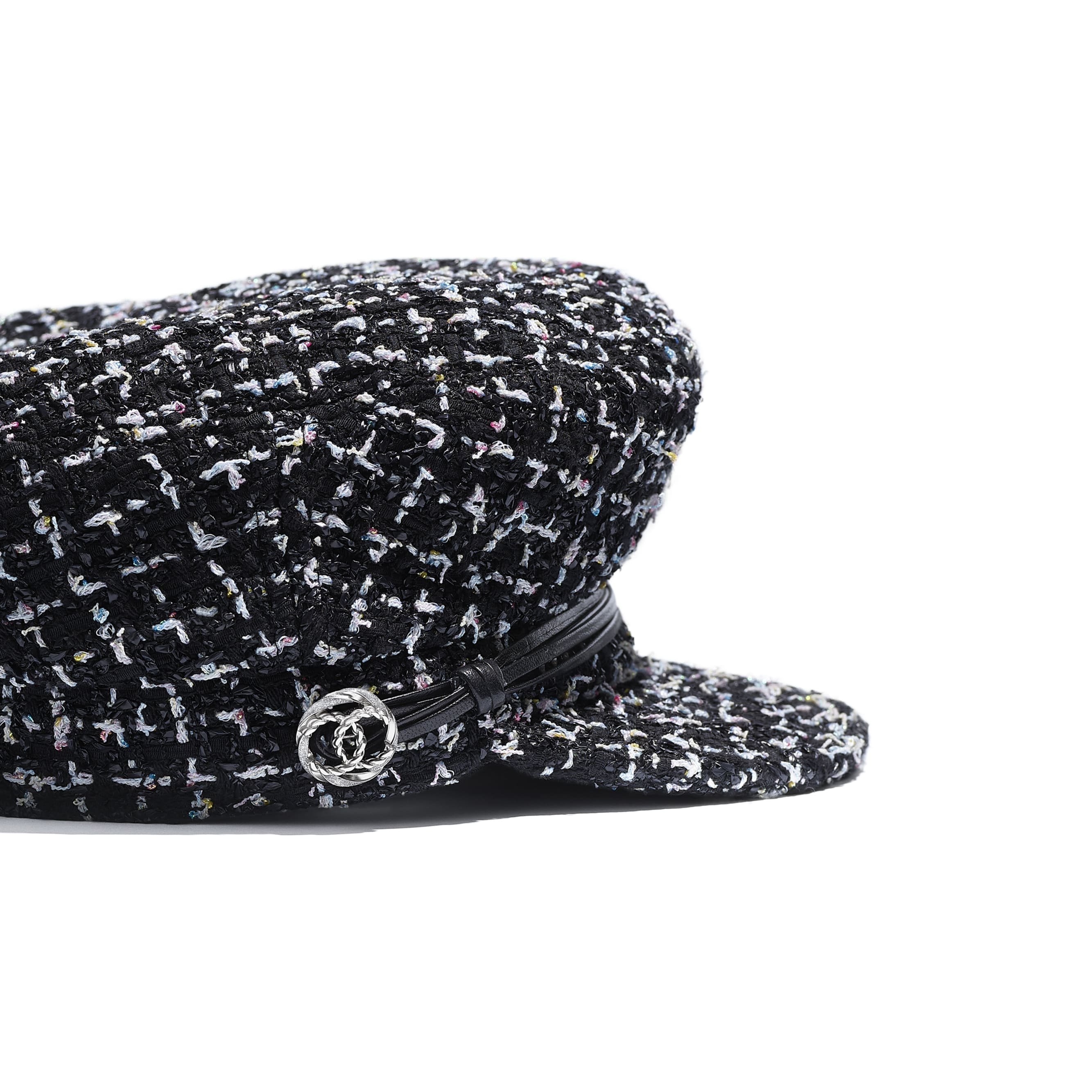 Sailor Cap - Black, White, Blue & Yellow - Tweed, Lambskin & Metal - Alternative view - see standard sized version