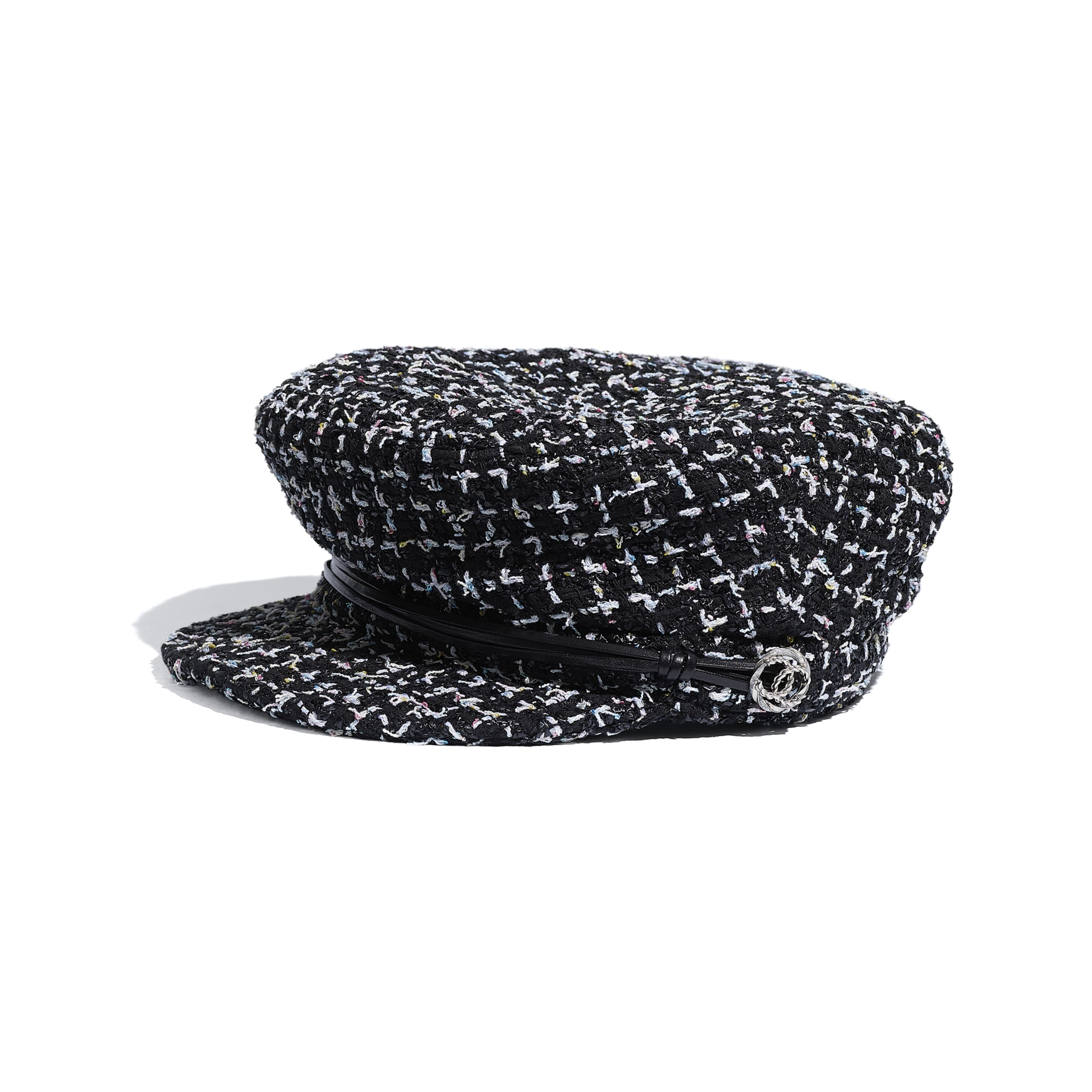 Sailor Cap - Black, White, Blue & Yellow - Tweed, Lambskin & Metal - Default view - see standard sized version