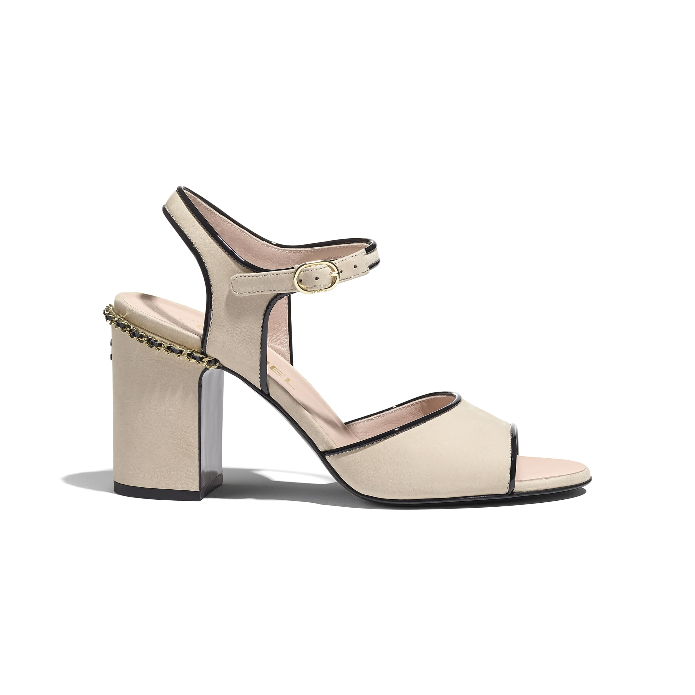Sandals - Beige & Black - Matte Velvet Calfskin - CHANEL - Default view - see standard sized version