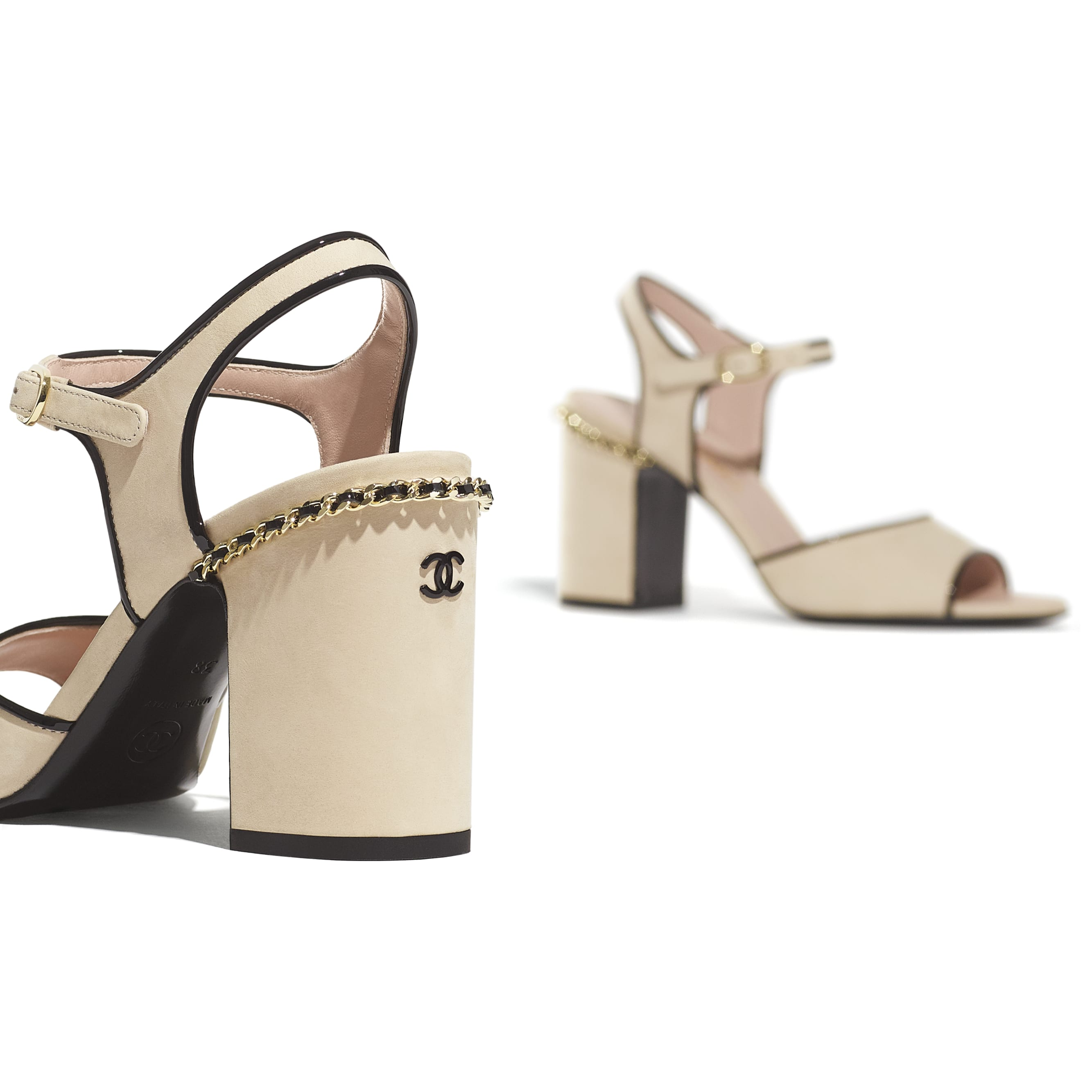 Sandals - Beige & Black - Matte Velvet Calfskin - CHANEL - Extra view - see standard sized version