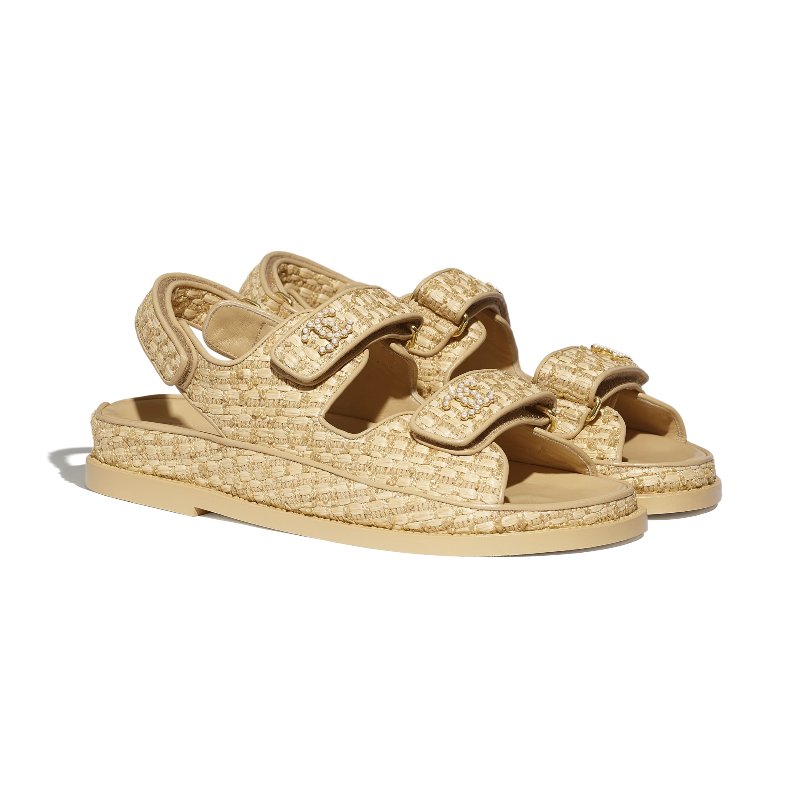 Sandals - Beige - Braided Fabric - CHANEL - Alternative view - see standard sized version