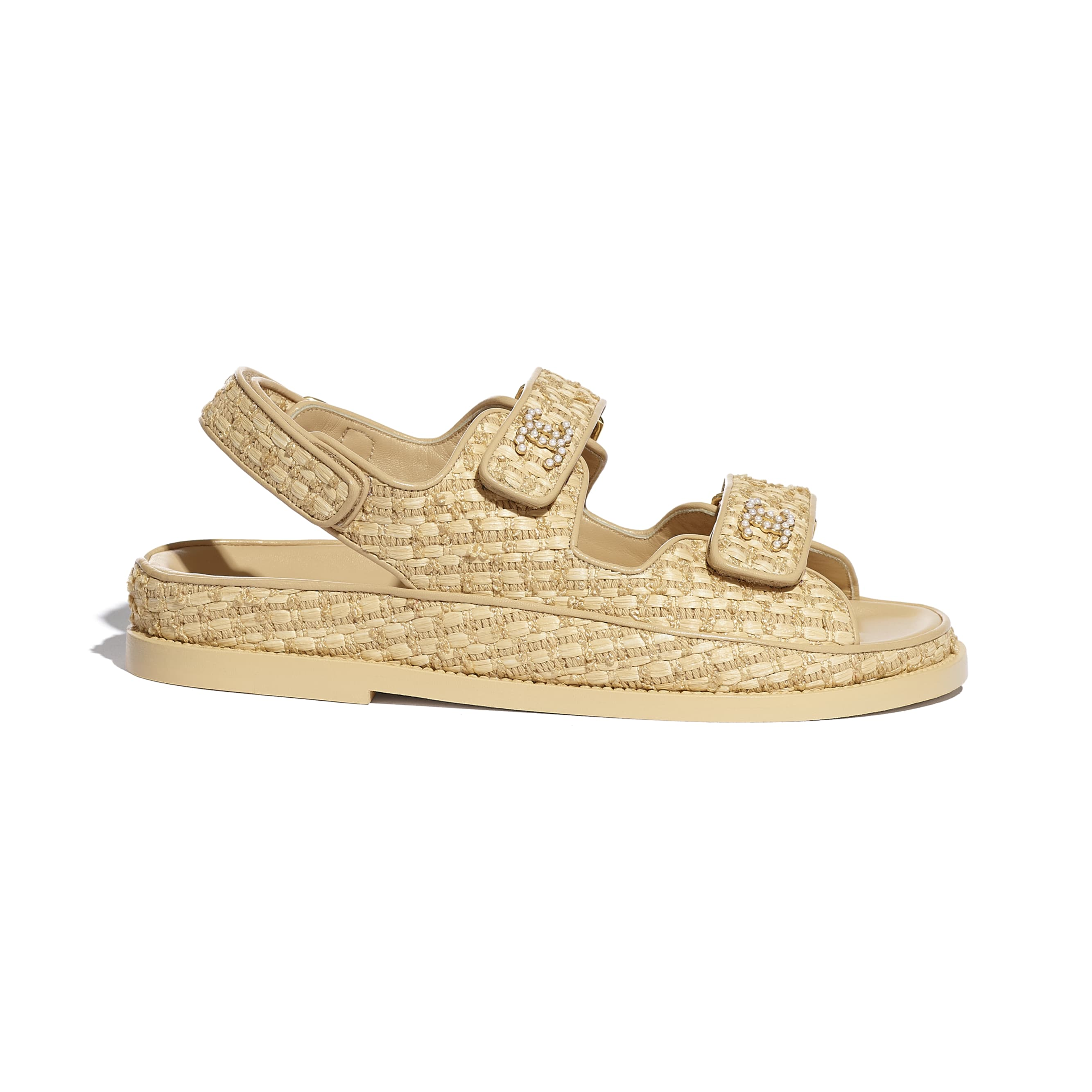 Sandals - Beige - Braided Fabric - CHANEL - Default view - see standard sized version
