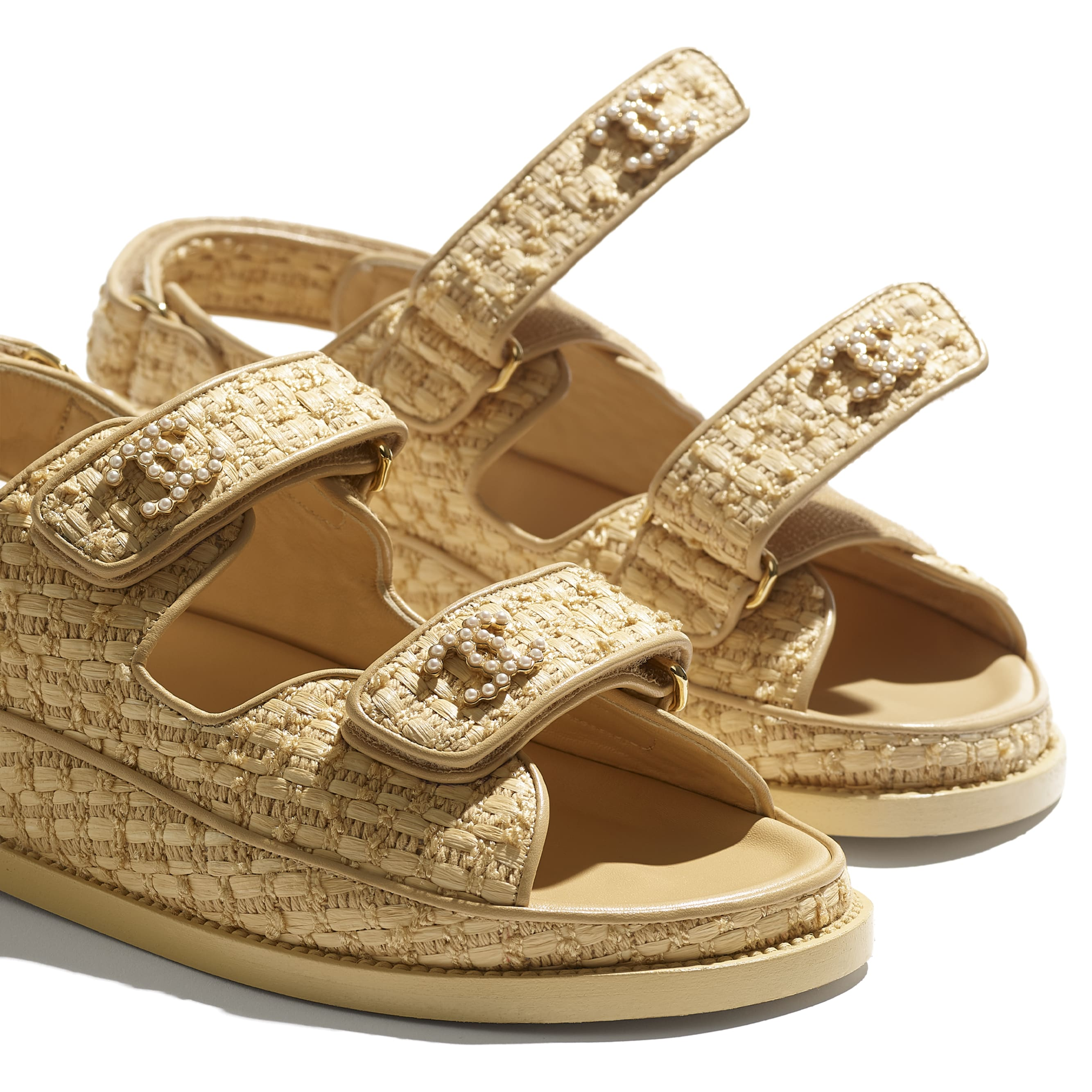 Sandals - Beige - Braided Fabric - CHANEL - Extra view - see standard sized version