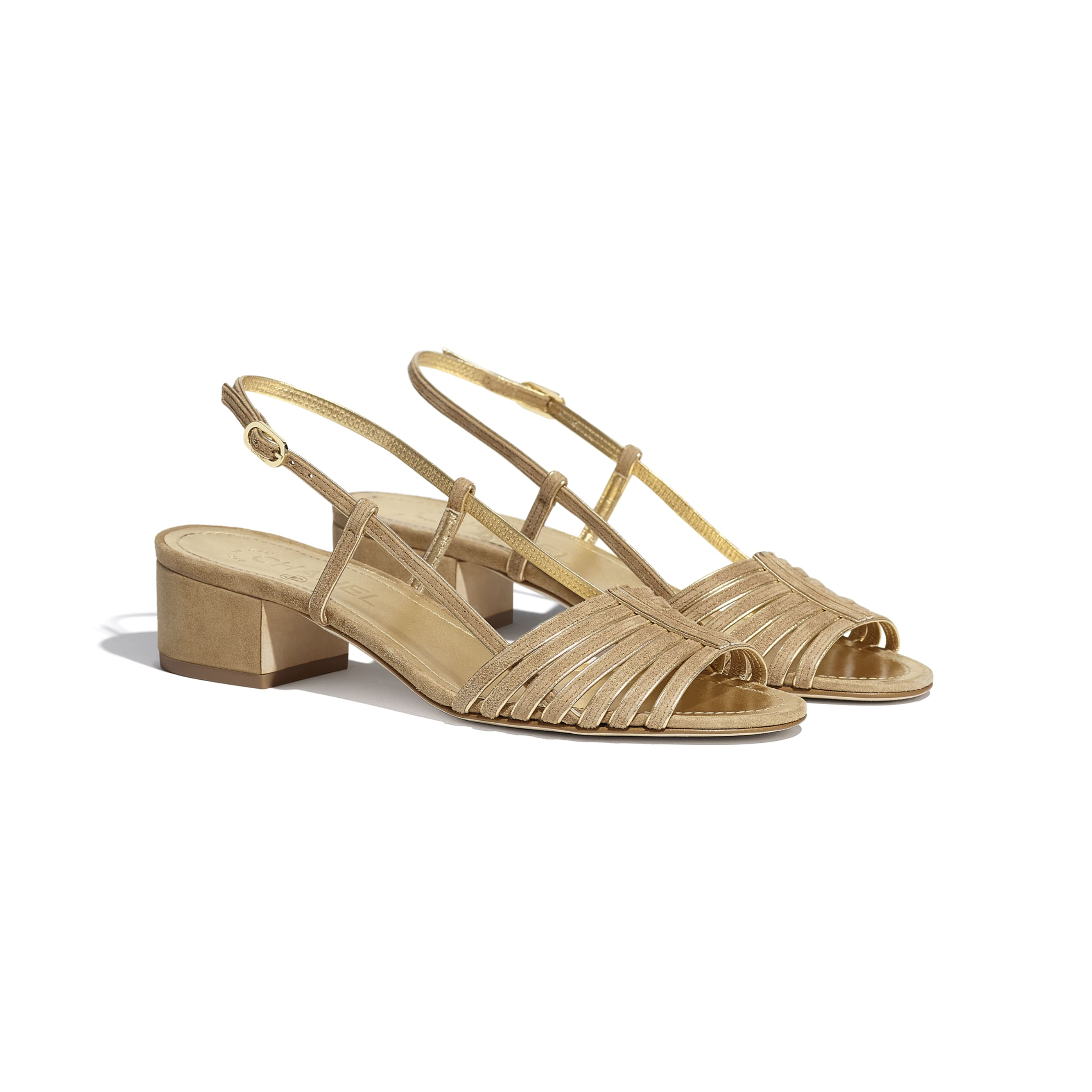 Sandals - Beige & Gold - Suede Kidskin - CHANEL - Alternative view - see standard sized version