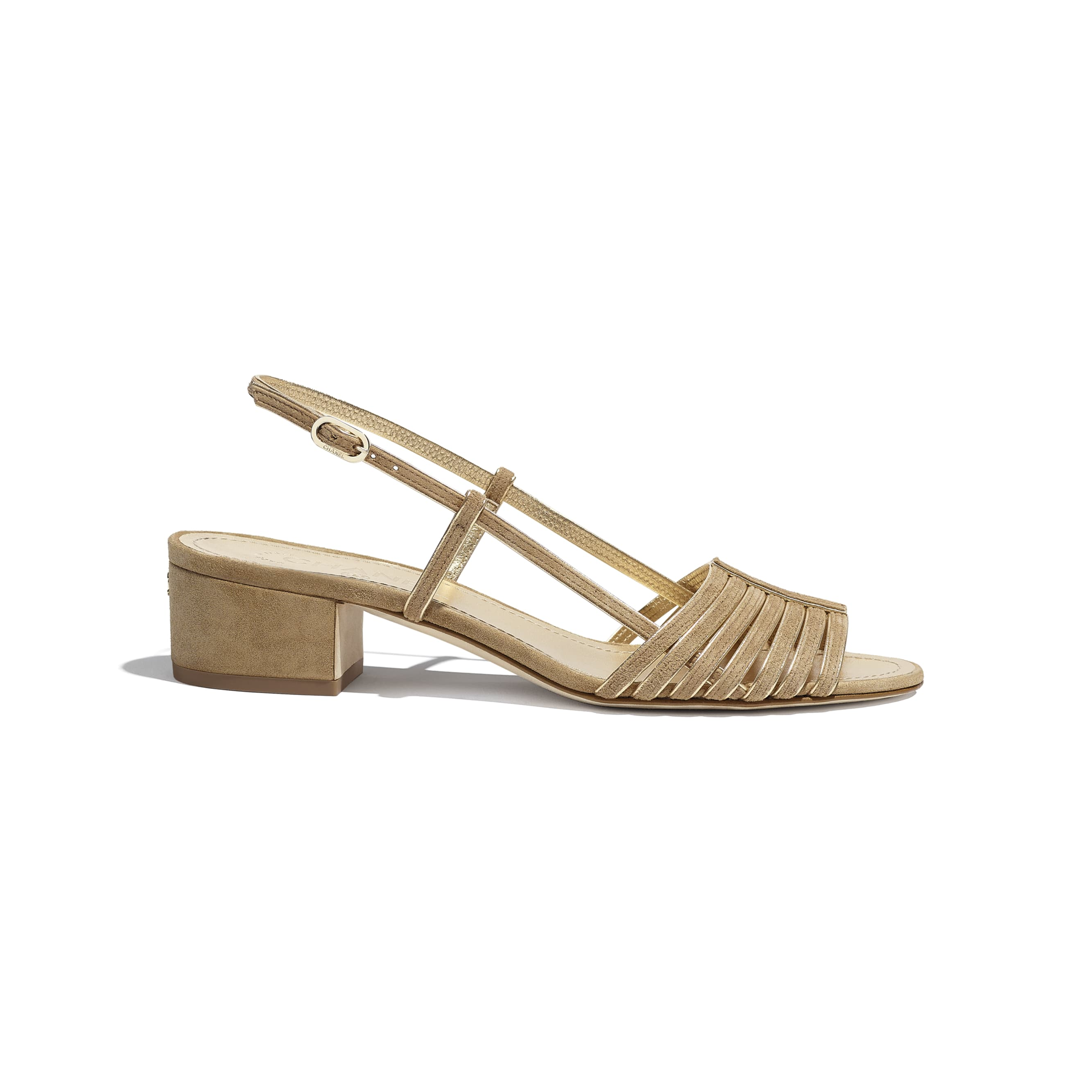 Sandals - Beige & Gold - Suede Kidskin - CHANEL - Default view - see standard sized version