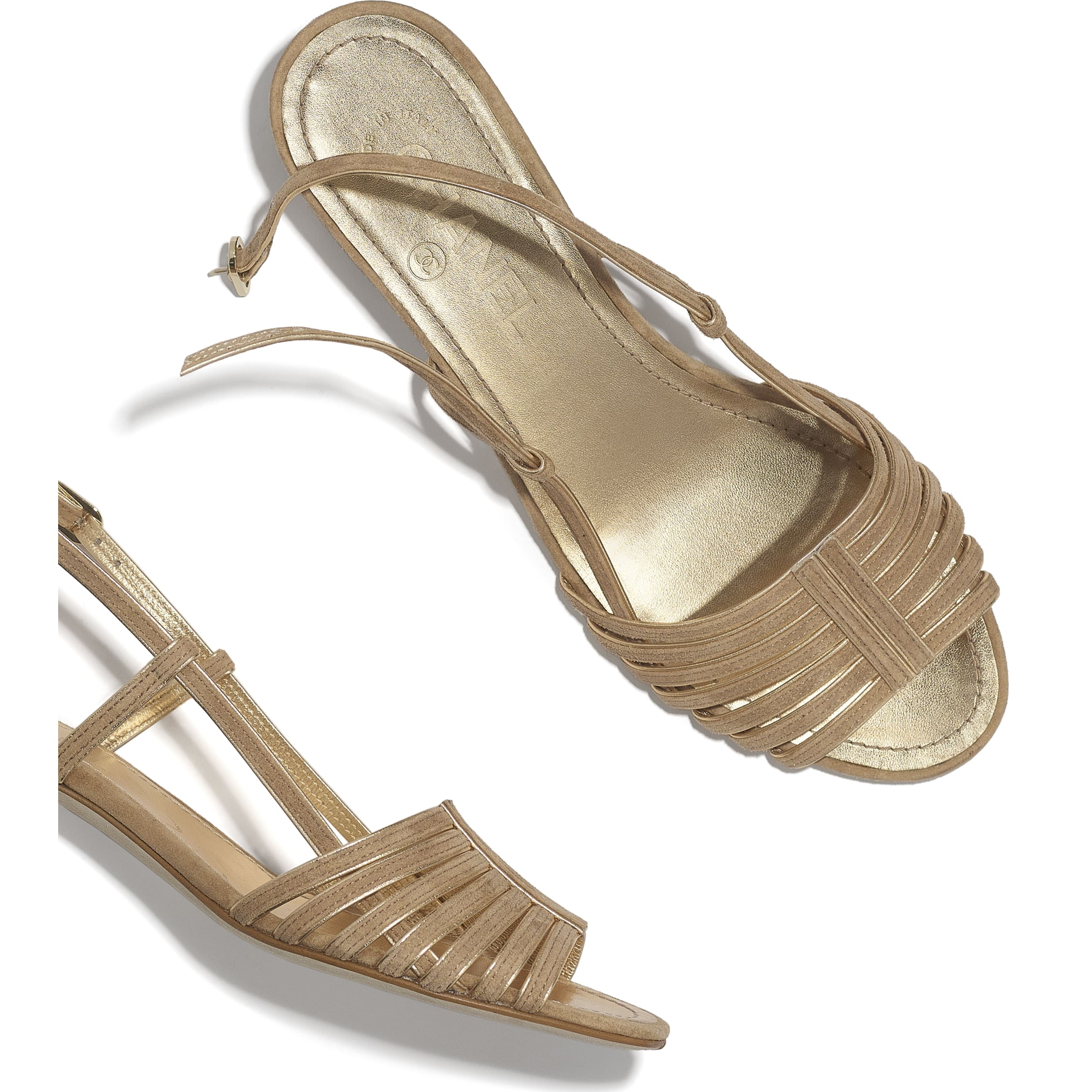 Sandals - Beige & Gold - Suede Kidskin - CHANEL - Extra view - see standard sized version