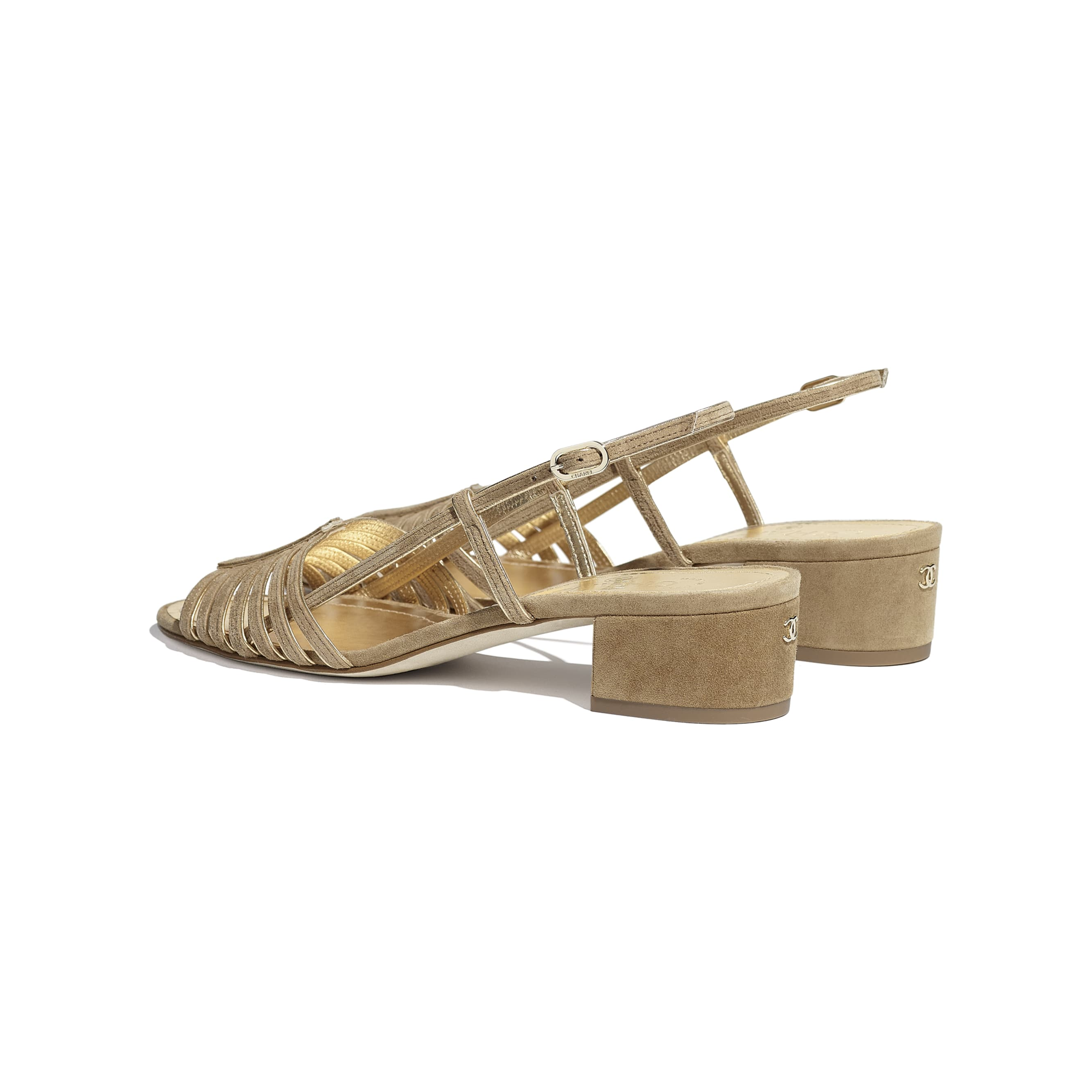 Sandals - Beige & Gold - Suede Kidskin - CHANEL - Other view - see standard sized version