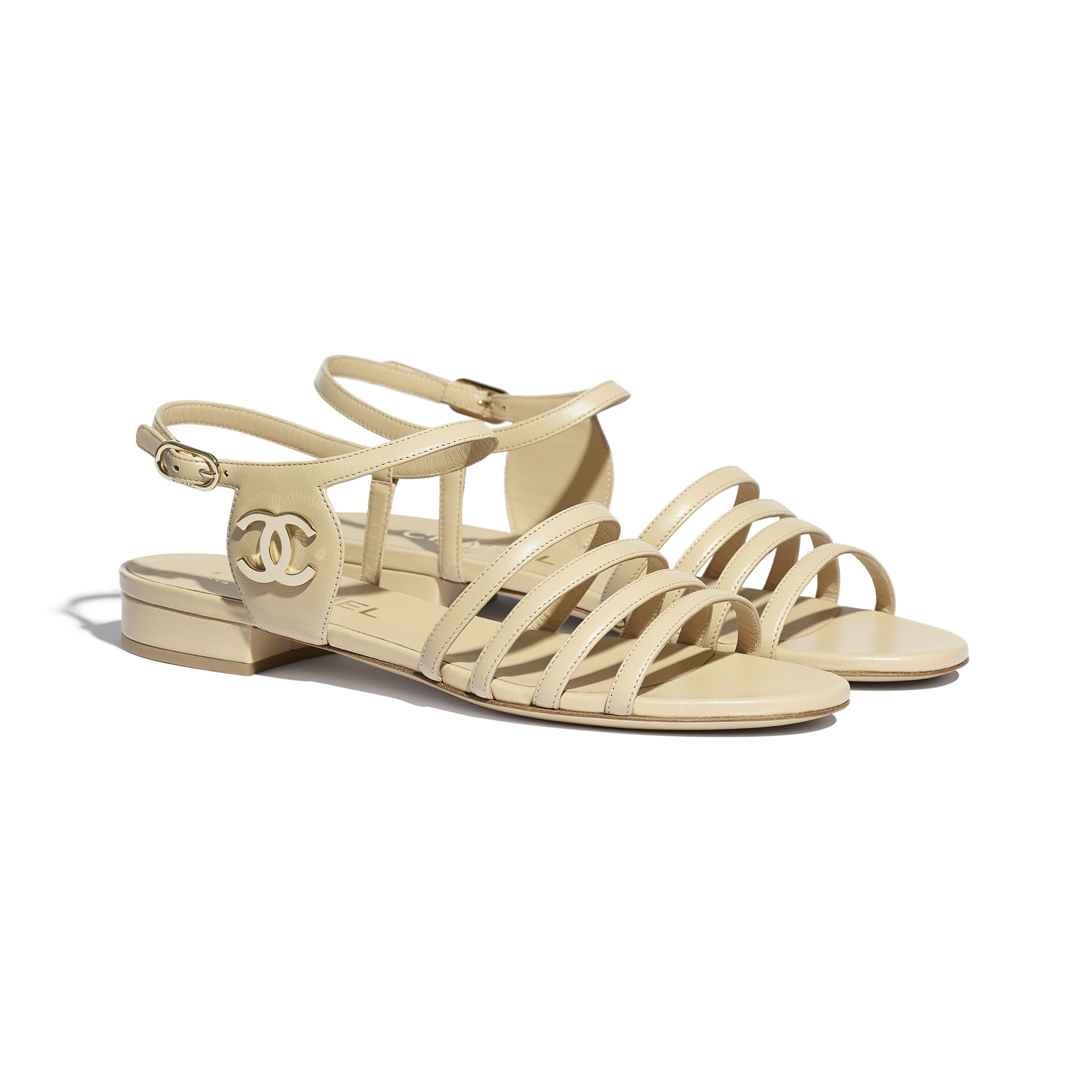 Sandals - Beige - Lambskin - CHANEL - Alternative view - see standard sized version