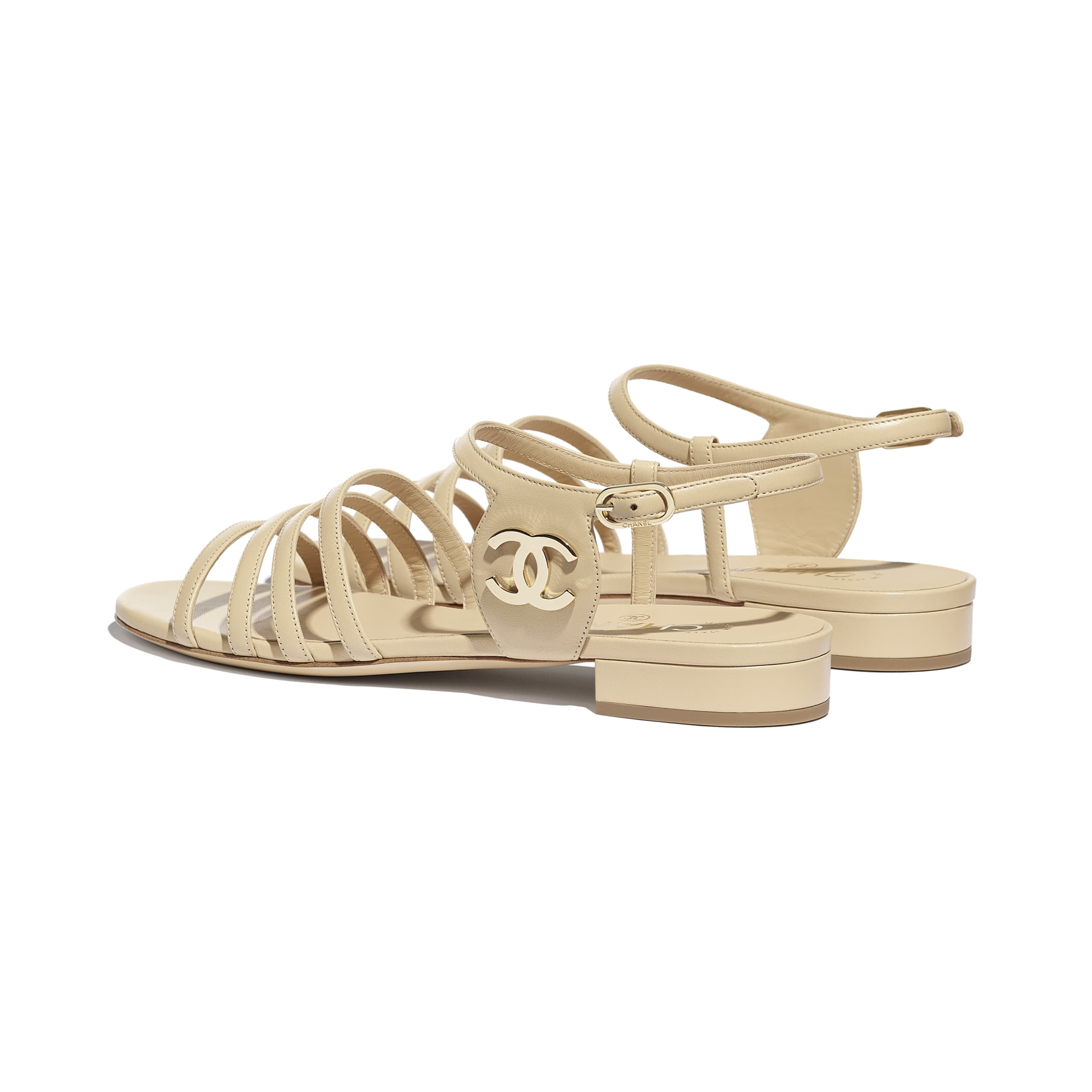 Sandals - Beige - Lambskin - CHANEL - Other view - see standard sized version