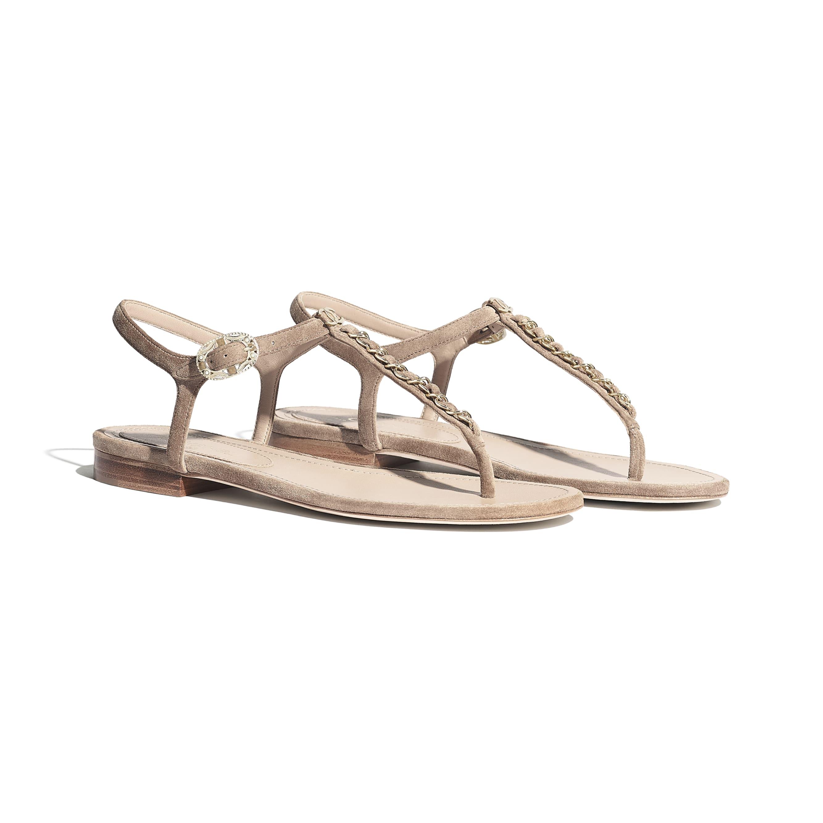 Sandały - Kolor beżowy - Zamszowa skóra cielęca - Widok alternatywny – zobacz w standardowym rozmiarze