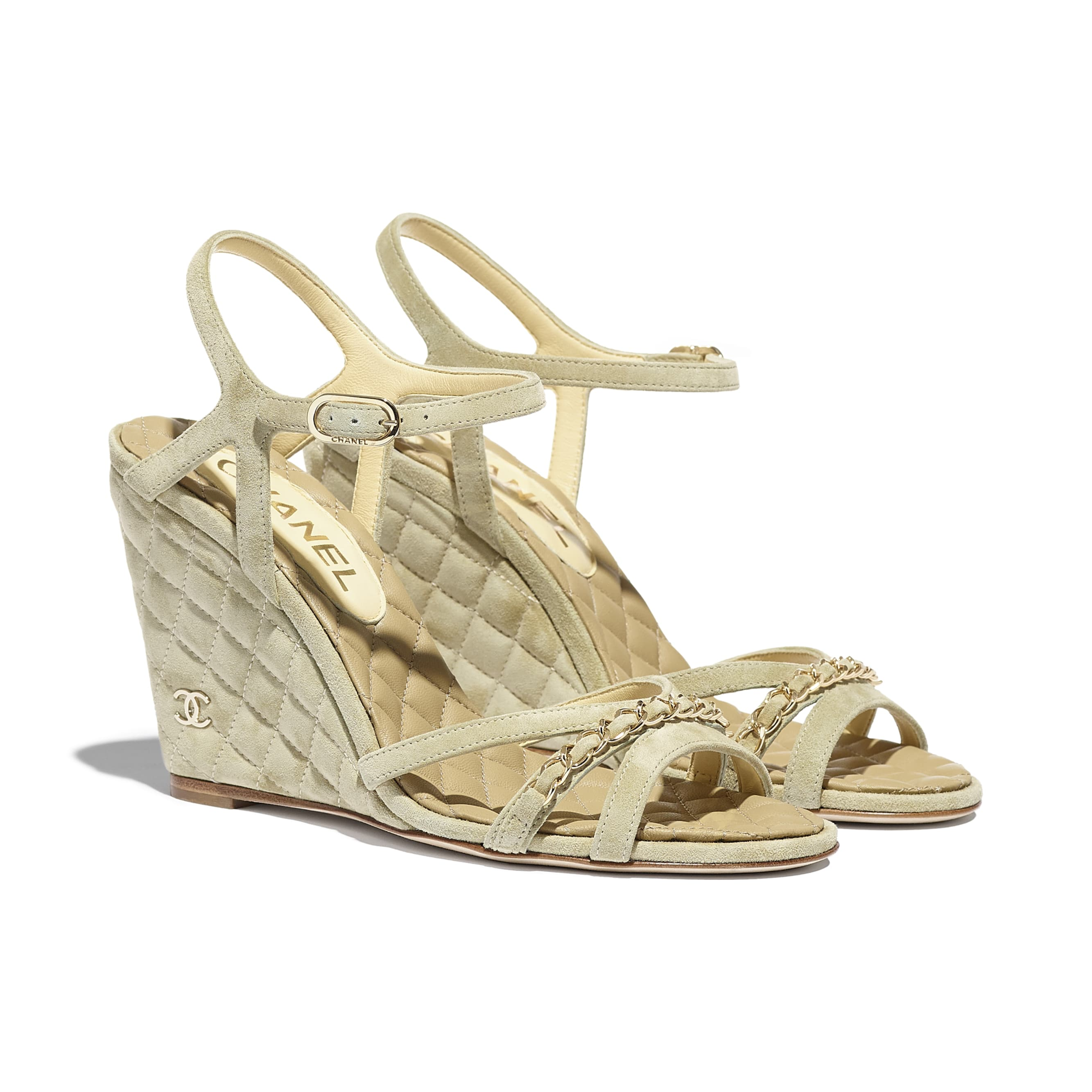 Sandals - Beige - Suede Calfskin - CHANEL - Alternative view - see standard sized version