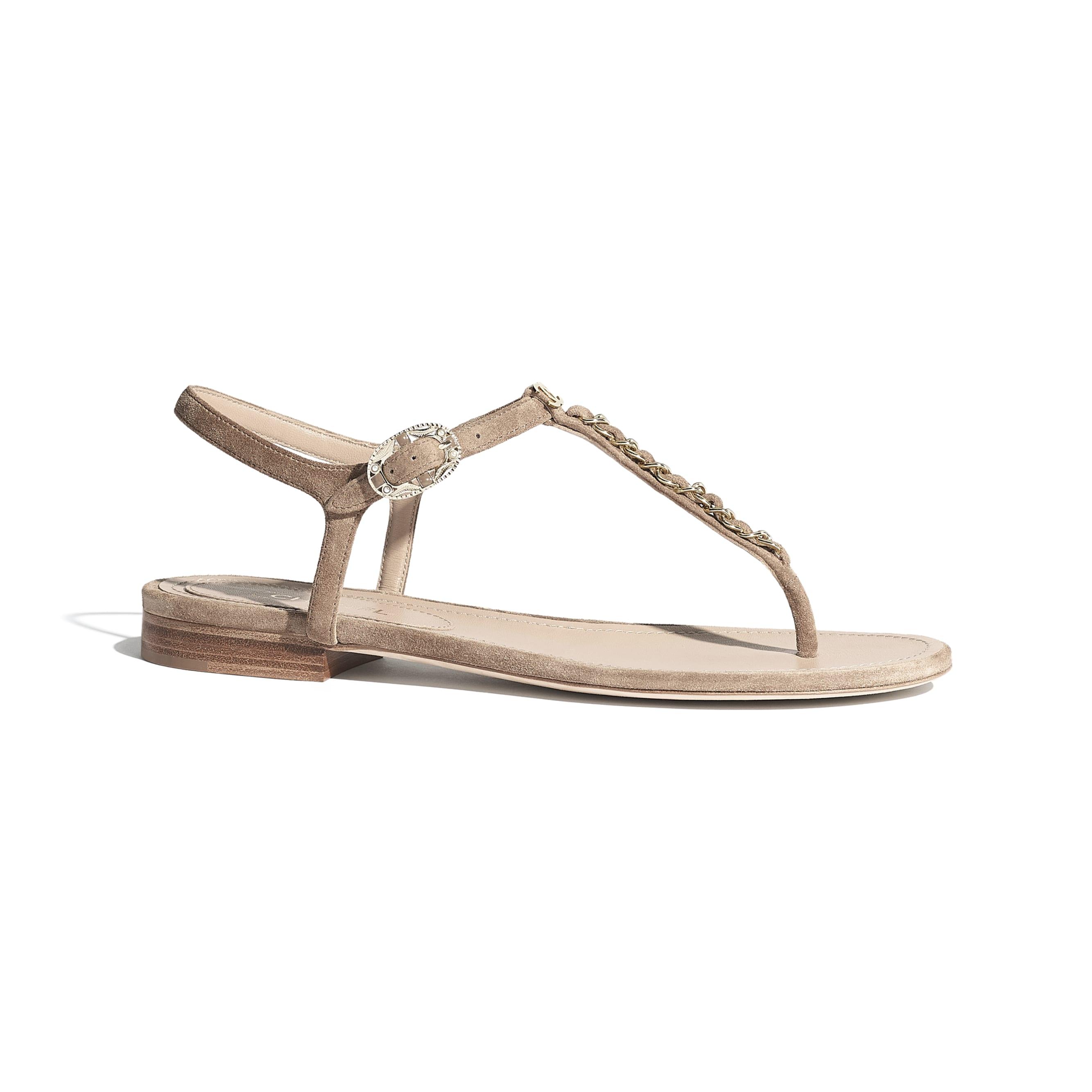 Sandały - Kolor beżowy - Zamszowa skóra cielęca - Widok domyślny – zobacz w standardowym rozmiarze