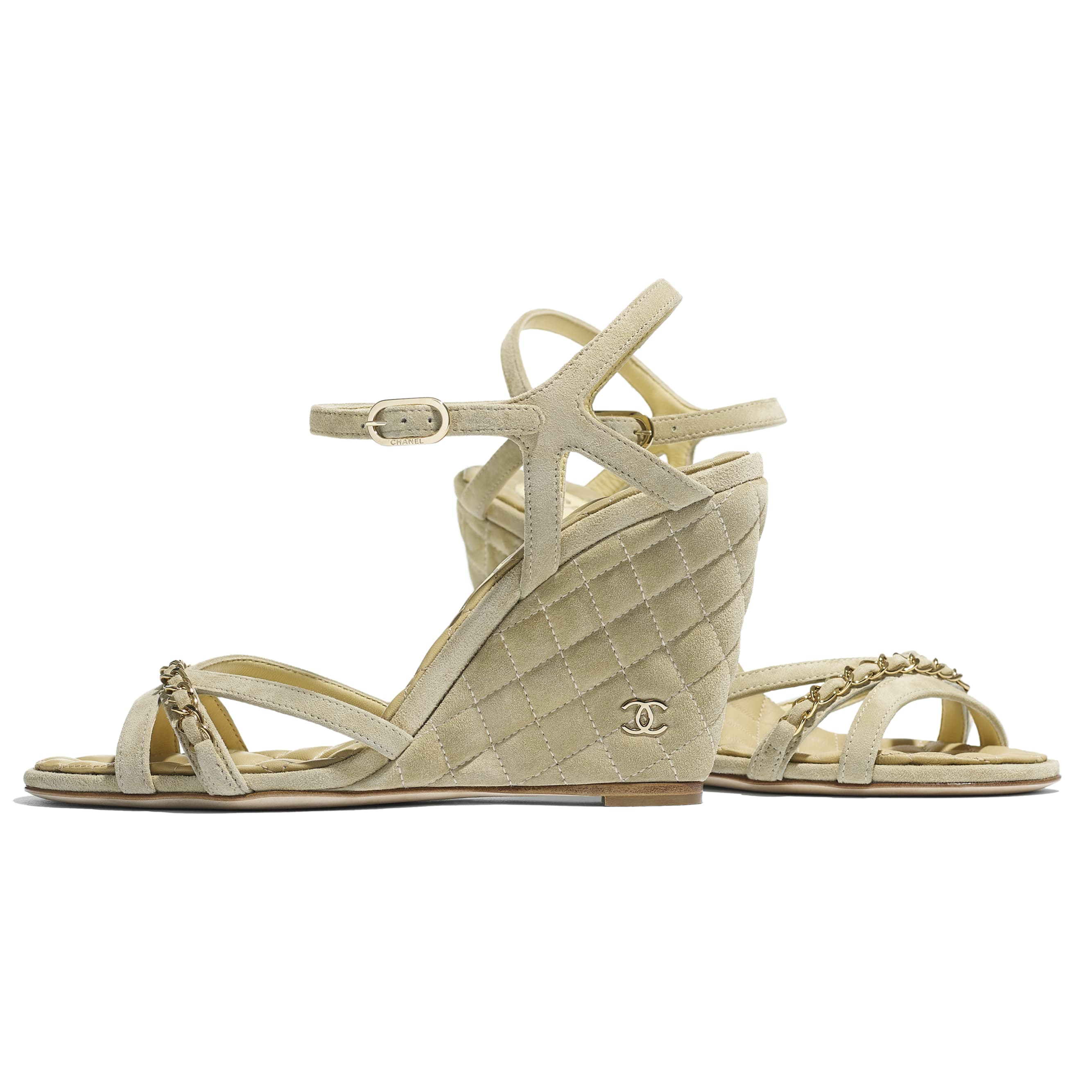 Sandals - Beige - Suede Calfskin - CHANEL - Extra view - see standard sized version
