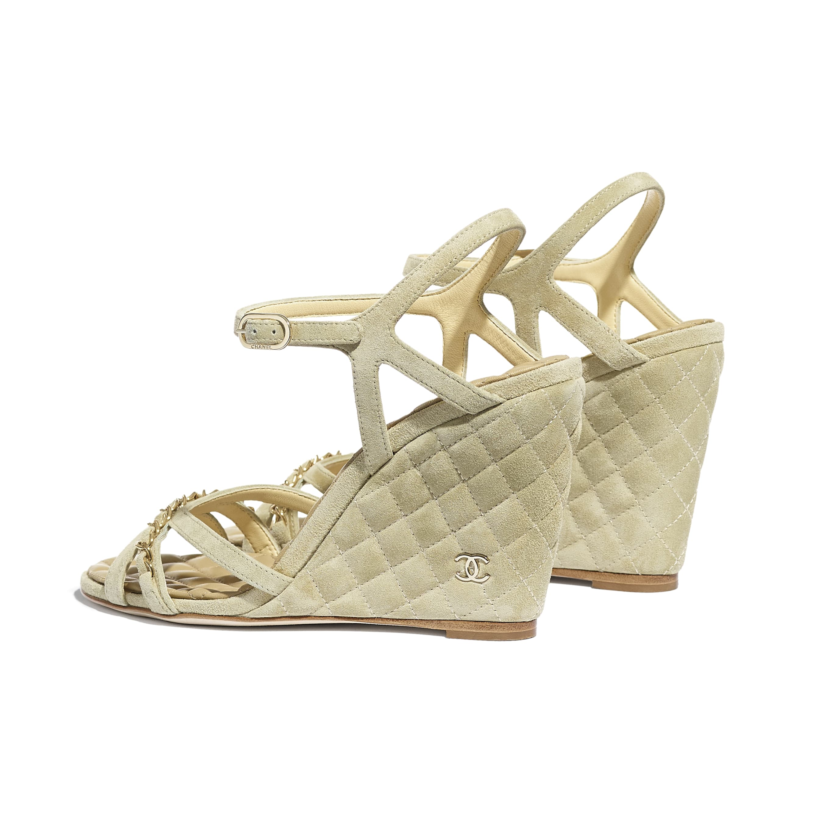 Sandals - Beige - Suede Calfskin - CHANEL - Other view - see standard sized version
