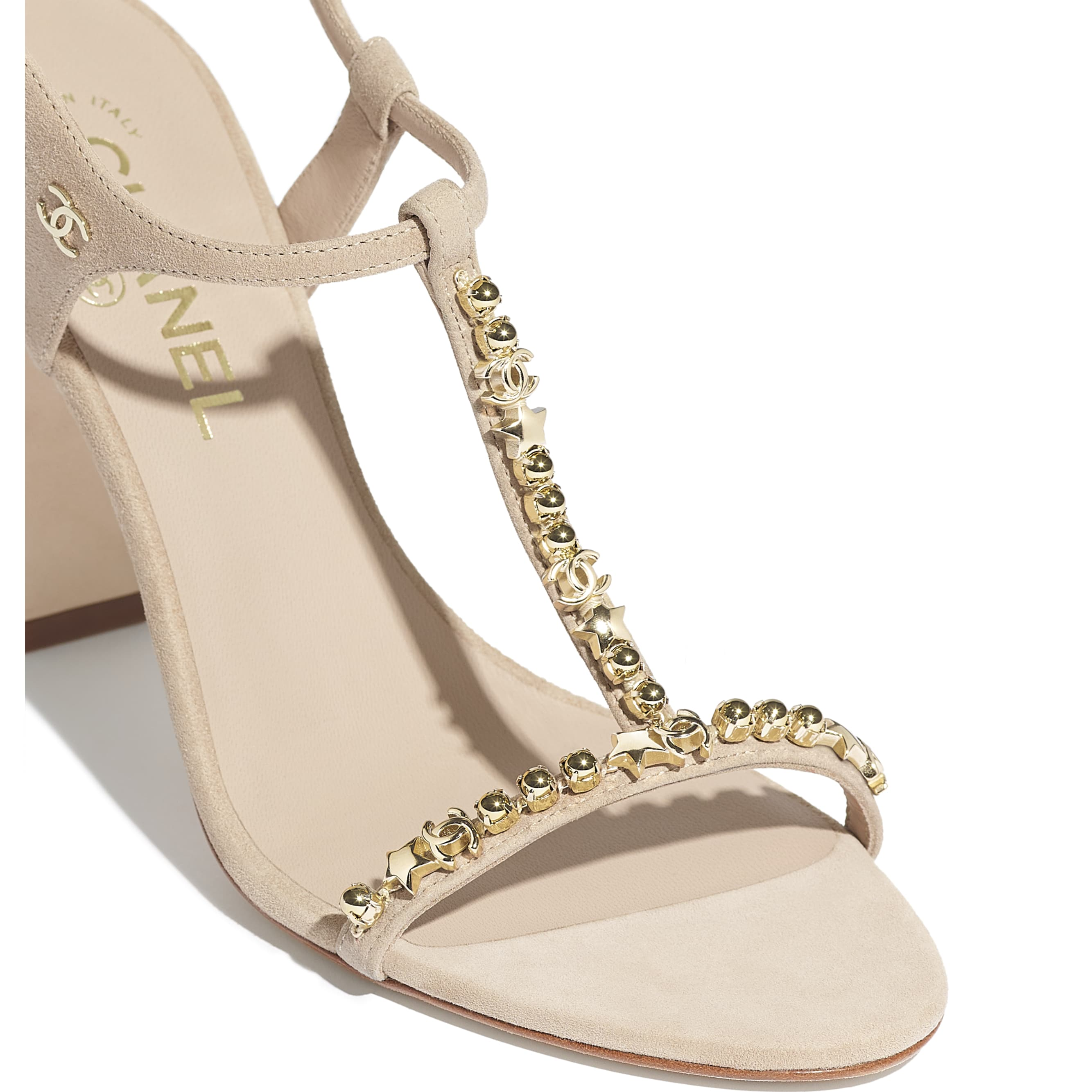 Sandals - Beige - Suede Kidskin & Metal - CHANEL - Extra view - see standard sized version
