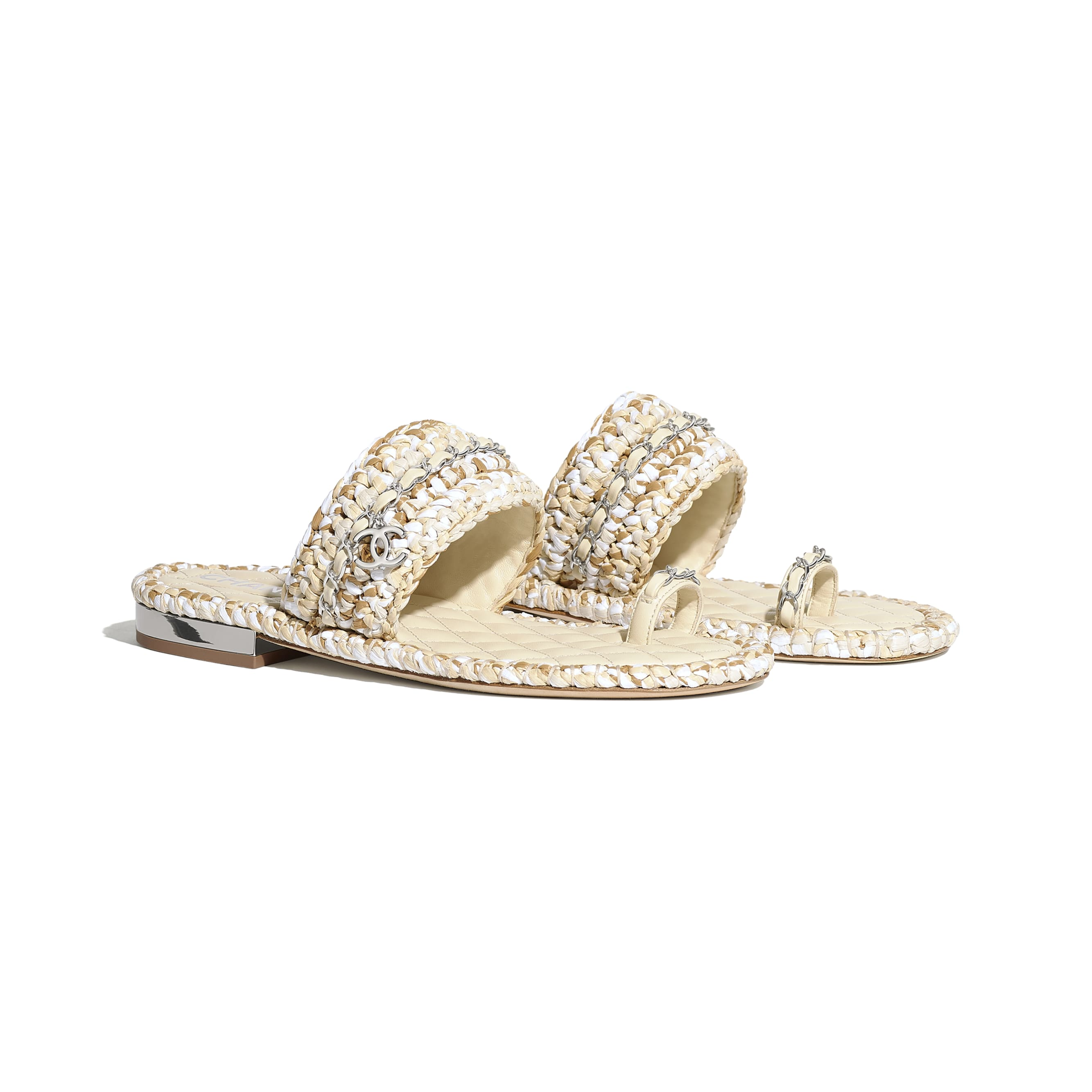 Sandals - Beige & White - Raffia & Lambskin - CHANEL - Alternative view - see standard sized version