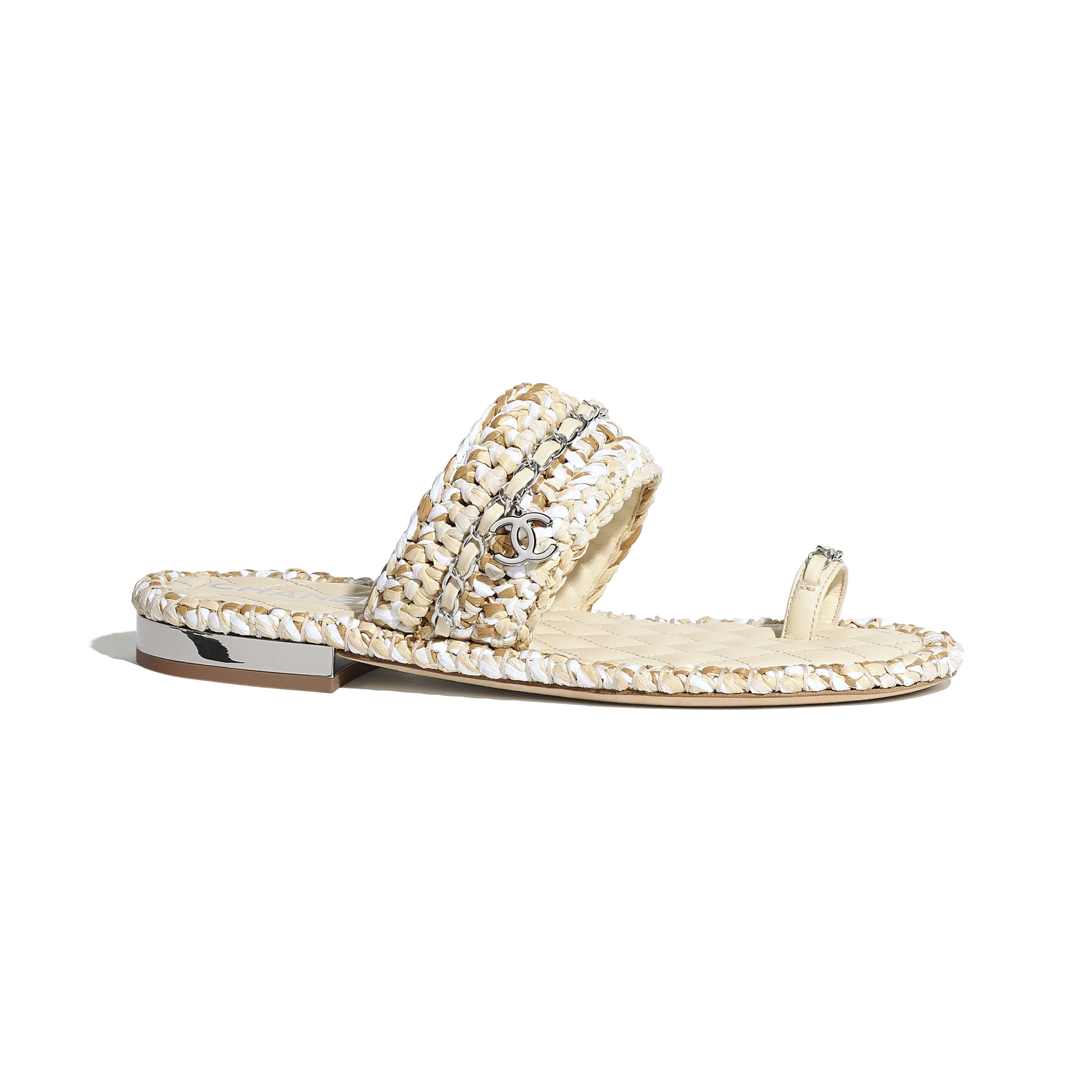 Sandals - Beige & White - Raffia & Lambskin - CHANEL - Default view - see standard sized version