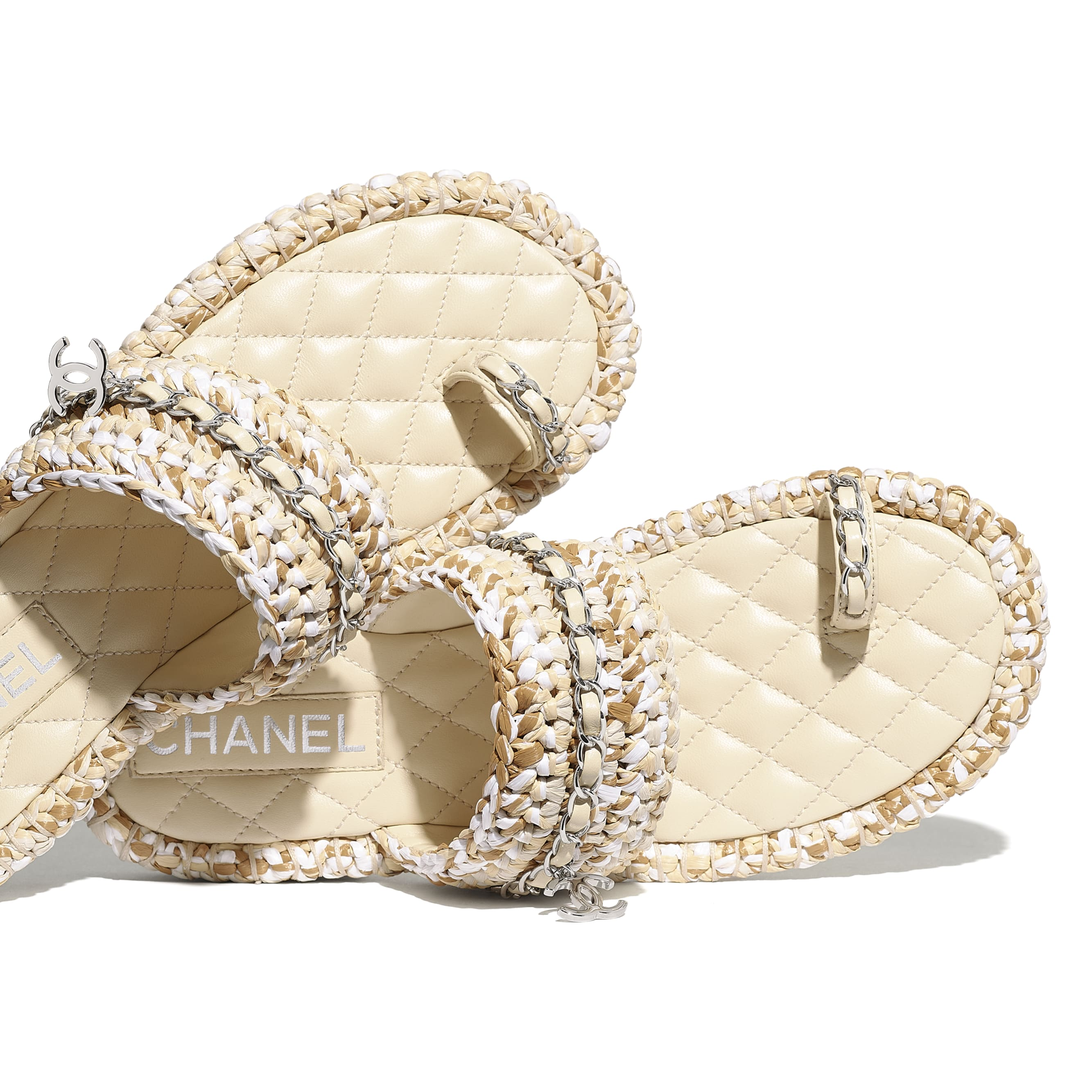 Sandals - Beige & White - Raffia & Lambskin - CHANEL - Extra view - see standard sized version
