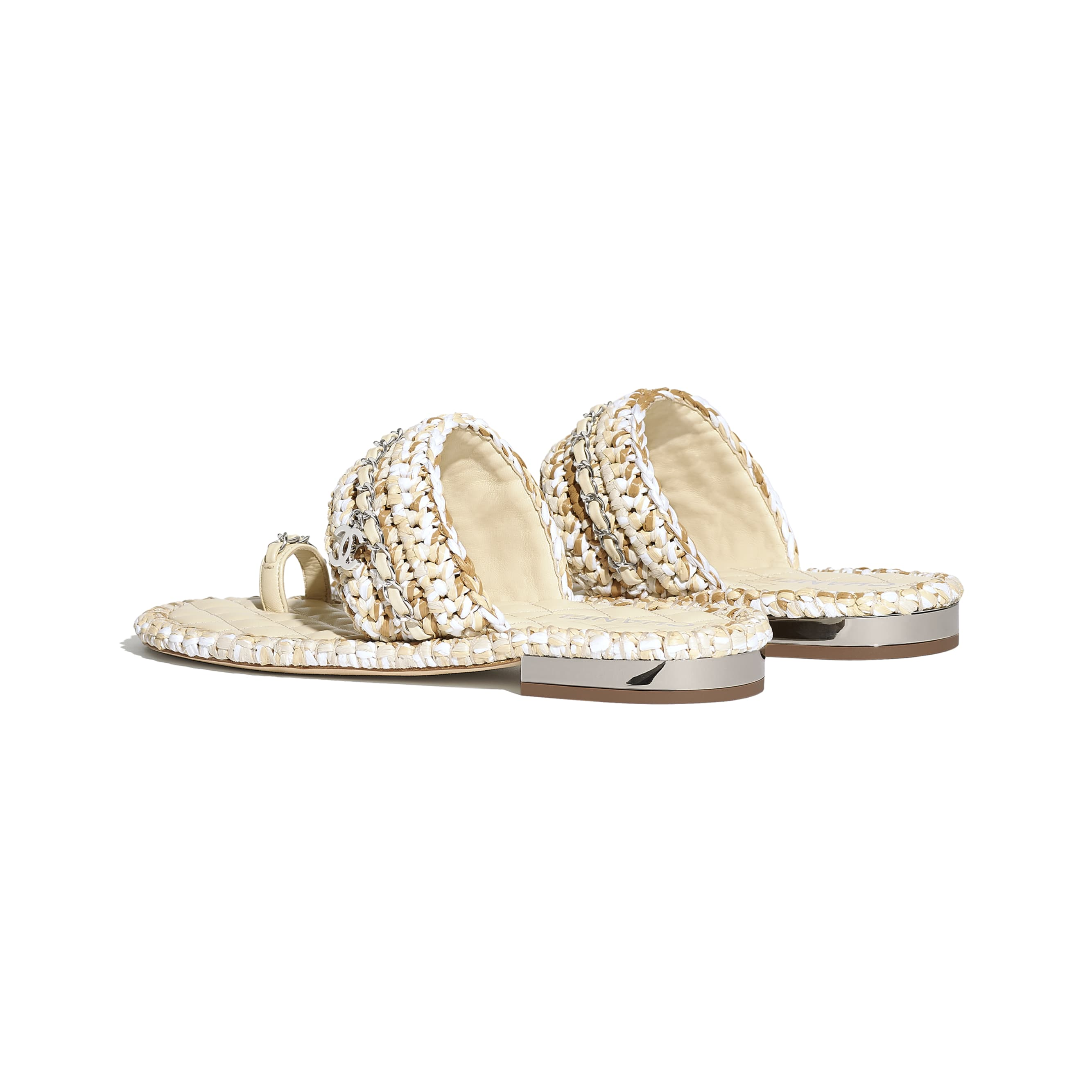 Sandals - Beige & White - Raffia & Lambskin - CHANEL - Other view - see standard sized version
